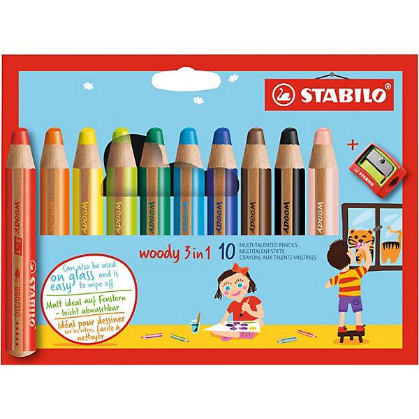 Набор супертолстых цветных карандашей Stabilo Woody 10цв+точилка, картон, new designПисьменные принадлежности<br>Характеристики:<br><br>• возраст: от 3 лет<br>• в наборе: 10 карандашей, точилка<br>• количество цветов: 10<br>• диаметр грифеля: 1 см.<br>• длина карандаша: 11 см.<br>• материал корпуса: древесина<br>• упаковка: картонная коробка<br>• размер упаковки: 17х15х3 см.<br>• вес: 175 гр.<br><br>Супертолстые цветные карандаши Stabilo «Woody» 3 в 1 - это уникальные карандаши, сочетающие в себе возможности цветных карандашей, акварельных красок и восковых мелков.<br><br>Высокая степень пигментации гарантирует яркость цвета, и исключительную покрывающую способность даже на темном фоне. Отличные акварельные качества позволяют добиться необычных изобразительных эффектов. Прочный грифель идеален для раскрашивания.<br><br>Карандаши Stabilo «Woody» пишут практически на всех гладких поверхностях, включая стекло.<br><br>Набор супертолстых цветных карандашей Stabilo Woody 10цв+точилка, картон, new design можно купить в нашем интернет-магазине.<br>Ширина мм: 172; Глубина мм: 154; Высота мм: 27; Вес г: 178; Возраст от месяцев: 36; Возраст до месяцев: 84; Пол: Унисекс; Возраст: Детский; SKU: 1550470;