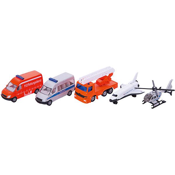 SIKU 6282 Набор Вертолет, самолет, 2-х микроавт.и кранСамолёты и вертолёты<br>Набор машинок, Siku, станет прекрасным пополнением коллекции юного автолюбителя. В комплекте Вы найдете сразу пять транспортных средства: вертолет, самолет, микроавтобусы скорая помощь и полиция и пожарная машина. Все модели являются точной копией своих реальных прототипов и отличаются высокой степенью детализации и тщательной проработкой всех элементов. Корпуса машинок выполнены из металла, лобовое, заднее и боковые стёкла из прозрачного пластика, колёса вращаются - машинки можно катать. У вертолета вращается винт.<br><br>Дополнительная информация:<br><br>- В комплекте: вертолет, самолет, микроавтобус скорой помощи, микроавтобус полиции, пожарная машина.<br>- Материал: металл, пластик.<br>- Масштаб: 1:55.<br>- Размер упаковки: 27,8 x 10,8 x 4,8 см.<br>- Вес: 0,281 кг. <br><br> 6282 Набор Вертолет, самолет, 2 микроавтобуса и кран, Siku, можно купить в нашем интернет-магазине.<br>Ширина мм: 286; Глубина мм: 114; Высота мм: 53; Вес г: 281; Возраст от месяцев: 36; Возраст до месяцев: 96; Пол: Мужской; Возраст: Детский; SKU: 1559956;