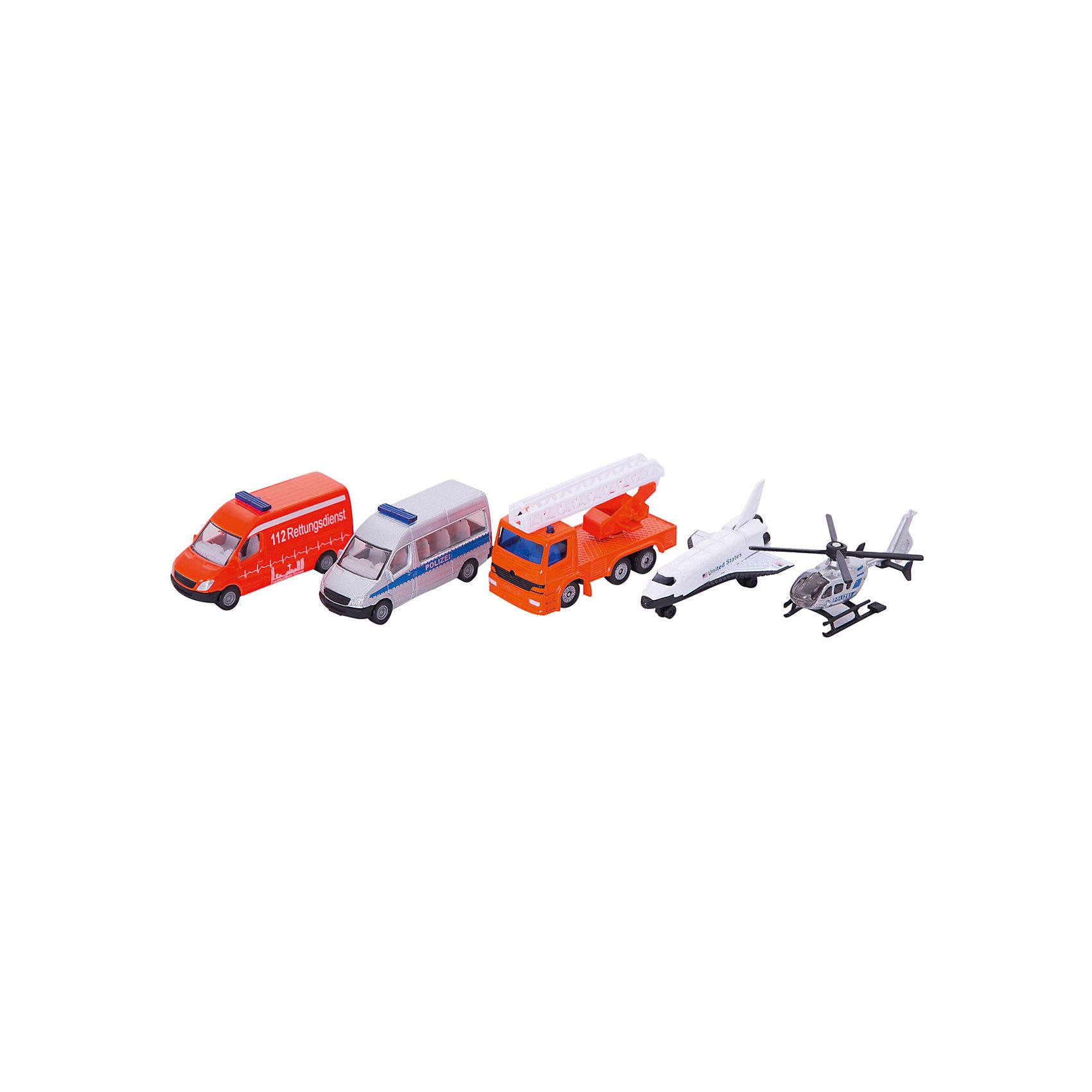 SIKU 6282 Набор Вертолет, самолет, 2-х микроавт.и кранНабор машинок, Siku, станет прекрасным пополнением коллекции юного автолюбителя. В комплекте Вы найдете сразу пять транспортных средства: вертолет, самолет, микроавтобусы скорая помощь и полиция и пожарная машина. Все модели являются точной копией своих реальных прототипов и отличаются высокой степенью детализации и тщательной проработкой всех элементов. Корпуса машинок выполнены из металла, лобовое, заднее и боковые стёкла из прозрачного пластика, колёса вращаются - машинки можно катать. У вертолета вращается винт.<br><br>Дополнительная информация:<br><br>- В комплекте: вертолет, самолет, микроавтобус скорой помощи, микроавтобус полиции, пожарная машина.<br>- Материал: металл, пластик.<br>- Масштаб: 1:55.<br>- Размер упаковки: 27,8 x 10,8 x 4,8 см.<br>- Вес: 0,281 кг. <br><br> 6282 Набор Вертолет, самолет, 2 микроавтобуса и кран, Siku, можно купить в нашем интернет-магазине.<br><br>Ширина мм: 285<br>Глубина мм: 109<br>Высота мм: 53<br>Вес г: 280<br>Возраст от месяцев: 36<br>Возраст до месяцев: 96<br>Пол: Мужской<br>Возраст: Детский<br>SKU: 1559956