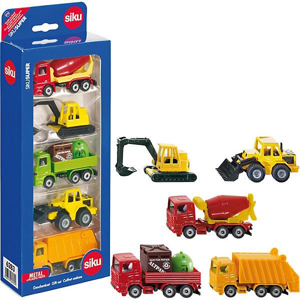 SIKU 6283 Подарочный набор из 5 машинок (спецтехника)Машинки<br>Замечательный SIKU (СИКУ) 6283 Подарочный набор из 5 машинок (спецтехника) для юных строителей.<br>В набор игрушечных моделей техники входят: бетономешалка, экскаватор, грузовик, погрузчик и мусоровоз. Корпуса машинок выполнены из металла, лобовое, заднее и боковые стёкла из прозрачной пластмассы, колёса выполнены из пластика и вращаются, можно катать. У экскаватора снизу предусмотрены маленькие колёса, игрушку можно катать, гусеницы не двигаются. Ковш погрузчикаи стрела экскаватора опускаются и поднимаются. Кузов мусоровоза открывается сзади.<br><br>Дополнительная информация:<br>-Материал: металл с элементами пластмассы<br>-размер упаковки: 10,9х28,6х5,3 см<br>-масштаб 1:87<br><br>Тщательно выполненные модели машинок, достойный внешний вид делает этот набор из 5 машинок отличным подарком.<br><br>SIKU (СИКУ) 6283 Подарочный набор из 5 машинок (спецтехника) можно купить в нашем магазине.<br><br>Ширина мм: 288<br>Глубина мм: 109<br>Высота мм: 50<br>Вес г: 289<br>Возраст от месяцев: 36<br>Возраст до месяцев: 96<br>Пол: Мужской<br>Возраст: Детский<br>SKU: 1559957