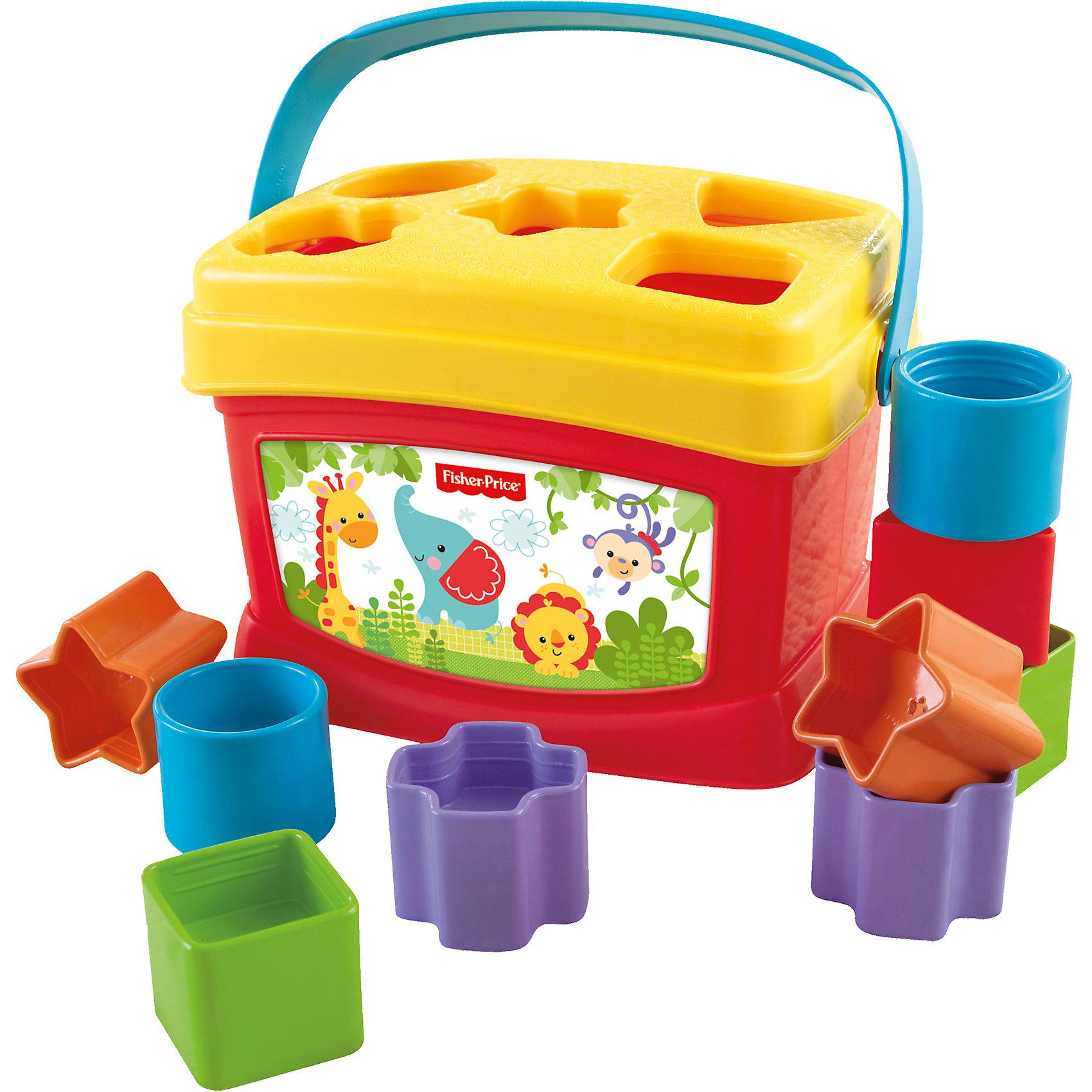 Fisher-Price Первые кубики малышаПервые кубики малыша от Fisher-Price. <br><br>В комплект входят 10 кубиков различной формы, а также яркое и прочное ведёрко. Во время игры малыш изучает различные формы, ведь чтобы кубик оказался в ведёрке, сначала нужно найти подходящие отверстие. У ведёрка есть удобная ручка, поэтому Вы всегда сможете взять его с собой. <br><br>Дополнительная информация:<br><br>- Материал: пластик<br>- Размер упаковки (д/ш/в): 21,6х14х14 см<br><br>Ширина мм: 212<br>Глубина мм: 147<br>Высота мм: 142<br>Вес г: 422<br>Возраст от месяцев: 6<br>Возраст до месяцев: 24<br>Пол: Унисекс<br>Возраст: Детский<br>SKU: 1595772