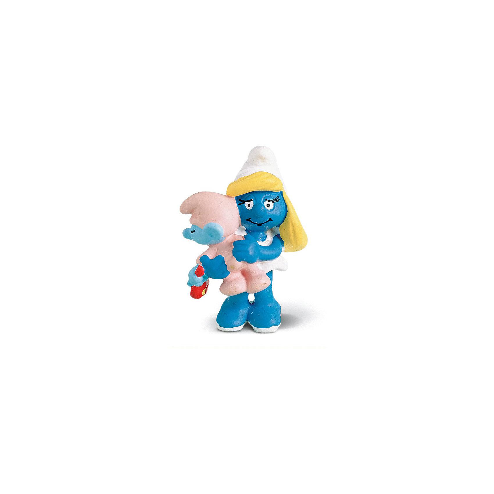 Фигурка Смурфики - Смурфетта с малышом, SchleichСмурфики Игровые наборы и игрушки<br>Характеристики:<br><br>• возраст: от 3-х лет<br>• материал: пластик каучуковый;<br>• тематика: «Смурфики»;<br>• высота фигурки: 5,5 см;<br>• вес: 30 г;<br>• размеры: 3,5х3,5х5,5 см;<br><br>Гномик с малышом, Schleich – эта фигурка смурфа, выполненная по мотивам популярного мультфильма «Смурфы в 3D». <br><br>Игрушка выполнена в миниатюрном размере. Полностью соответствует облику экранного прототипа: у гномика белое платье и колпачок. На руках держит малыша-смурфа, одетого в розовый комбинезон.<br><br>Фигурки от Шляйх выполнены из экологически безопасного каучукового пластика, который устойчив к появлению царапин и сколов. Гномик раскрашен вручную, что обеспечивает высокую детализацию даже самых мелких деталей и элементов.<br><br>Гномика с малышом, Schleich можно купить в нашем интернет-магазине.<br><br>Ширина мм: 71<br>Глубина мм: 48<br>Высота мм: 27<br>Вес г: 18<br>Возраст от месяцев: 36<br>Возраст до месяцев: 2147483647<br>Пол: Унисекс<br>Возраст: Детский<br>SKU: 1599939