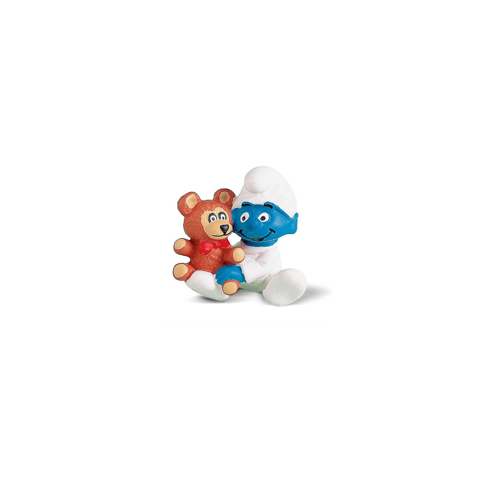 Фигурка Смурфики - Гномик с медвежонком, 3.8 см, SchleichСмурфики Игровые наборы и игрушки<br>Характеристики:<br><br>• материал: пластик каучуковый;<br>• серия: «Смурфики»;<br>• высота фигурки: 3,8 см;<br>• вес: 20 г;<br>• размеры: 3х4,1х4,1 см;<br>• особенности ухода: влажная чистка.<br><br>Гномик с медвежонком, Schleich (Шляйх) – эта фигурка смурфа, выполненная по мотивам популярного мультфильма «Смурфы в 3D». <br><br>Игрушка выполнена в миниатюрном размере. Полностью соответствует облику экранного героя малышу-смурфу. В руках малыш держит любимую игрушку – медвежонка.<br><br>Фигурки от Шляйх выполнены из экологически безопасного каучукового пластика, который устойчив к появлению царапин и сколов. Гномик раскрашен вручную, что обеспечивает высокую детализацию даже самых мелких деталей и элементов.<br><br>Гномика с медвежонком, Schleich, Schleich можно купить в нашем интернет-магазине.<br><br>Ширина мм: 73<br>Глубина мм: 53<br>Высота мм: 10<br>Вес г: 23<br>Возраст от месяцев: 36<br>Возраст до месяцев: 96<br>Пол: Унисекс<br>Возраст: Детский<br>SKU: 1599940