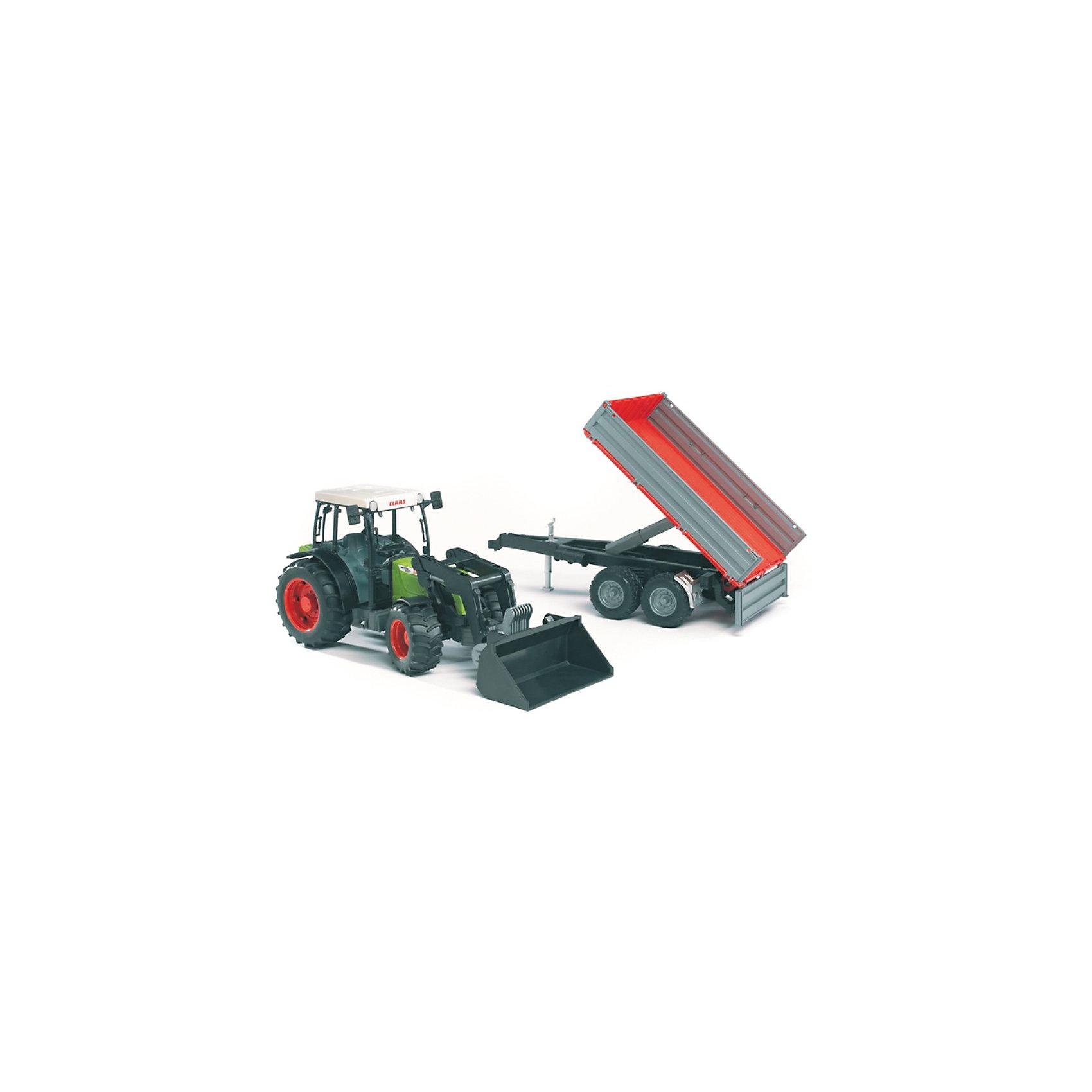 Трактор Claas Nectis с погрузчиком и прицепом, BruderМашинки<br>Трактор Claas Nectis с погрузчиком и прицепом, Bruder (Брудер) - это качественная детализированная игрушка с подвижными элементами.<br>Трактор Claas Nectis с погрузчиком и прицепом от немецкого производителя игрушек Bruder (Брудер) - это уменьшенная полноценная копия настоящей машины! Трактора серия Nectis разработаны для использования в виноградниках и садах. Модель отличается высокой степенью детализации. Кабина трактора с водительским сидением, рулем и декоративными рычагами тщательно проработана. Машина имеет массу преимуществ и функций, она заинтересует или разовьет интерес ребенка к миру автомеханики. Ковш погрузчика поднимается вверх и вниз, меняет угол наклона. Съемный прицеп оснащен тремя откидывающимися боковинами, а так же подъемным механизмом (подобно кузову самосвала), дополнительной складной ногой-опорой для устойчивости. Передняя ось трактора имеет амортизатор, что позволит трактору с непринужденностью маневрировать даже на неровном ландшафте. Широкие большие колёса трактора с крупным протектором обеспечивают хорошую проходимость. Колеса прорезиненные. Они не гремят при езде и не царапают пол. Управление передними колесами осуществляется с помощью руля в кабине или дополнительного руля, который вставляется через отодвигающее отверстие на крыше трактора. Трактор оснащен фаркопом для прицепных устройств. Игрушка изготовлена из высококачественного пластика, устойчивого к износу и ударам. Продукция сертифицирована, экологически безопасна для ребенка, использованные красители не токсичны и гипоаллергенны.<br><br>Дополнительная информация:<br><br>- Масштаб 1:16<br>- Материал: высококачественный ударопрочный пластик<br>- Цвет: зеленый, черный, красный, серый<br>- Размер упаковки: 57 x 16 x 18,5 см.<br><br>Трактор Claas Nectis с погрузчиком и прицепом, Bruder (Брудер) можно купить в нашем интернет-магазине.<br><br>Ширина мм: 575<br>Глубина мм: 164<br>Высота мм: 185<br>Вес г: 1060<br>Возраст от ме