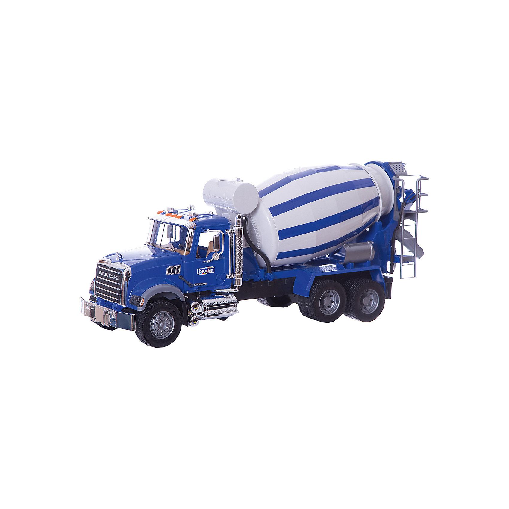 Бетономешалка MACK, BruderБольшой транспорт от 50 см<br>Очень реалистичная кабина водителя с открывающимися дверями, откидывающимся капотом, что позволяет увидеть двигатель, раскладными зеркалами, множеством деталей с эффектом хромирования - все это привлекает взгляд не только фанатов грузовиков. Барабан бетономешалки со спиралевидными лопастями можно поворачивать с помощью рычага, спрятанного в баке для воды (муляж). В зависимости от направления вращения можно загружать или опорожнять барабан. На кузове закреплены желоба для удлинения разгрузочного желоба бетономешалки.<br><br><br><br>Описание:<br>+ открывающийся капот, что позволяет увидеть двигатель<br>+ складные боковые зеркала<br>+ переднее и заднее стекло<br>+ открывающиеся двери<br>+ бампер, вентиляционная решетка, фигурка на радиаторе, зеркало заднего вида, выхлопные трубы, фары на крыше, другие детали с эффектом хромового покрытия<br>+ смесительный барабан поворачивается с помощью рычага (барабан со спиралевидными лопастями)<br>+ выдвижной рычаг, скрытый в баке для воды<br>+ 2 съемных разгрузочных желоба <br>+ профильные шины<br>+ сочетается с аксессуарами категории M<br>+ произведен из высококачественных пластиков, например, АБС<br>+ масштаб 1:16<br>+ размеры: длина 67см x ширина 19см x высота 28см<br>+ цвет сине-серый<br><br>Ширина мм: 665<br>Глубина мм: 275<br>Высота мм: 185<br>Вес г: 3200<br>Возраст от месяцев: 36<br>Возраст до месяцев: 84<br>Пол: Мужской<br>Возраст: Детский<br>SKU: 1600542