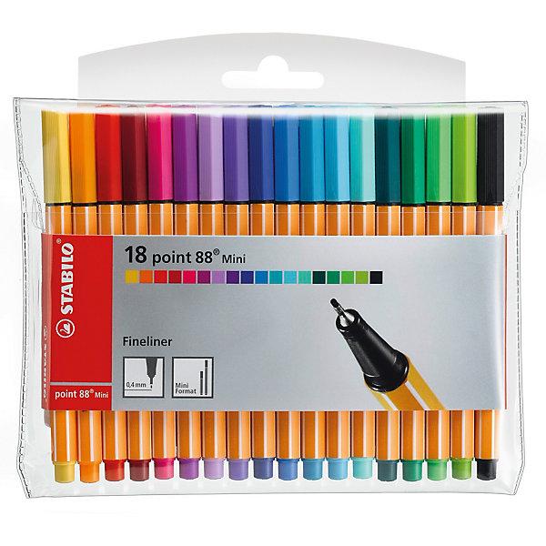 Набор капиллярных ручек Stabilo Point 88 mini, 18цвПисьменные принадлежности<br>Характеристики:<br><br>• возраст: от 3 лет<br>• в наборе: 18 капиллярных ручек<br>• количество цветов: 18<br>• чернила на водной основе<br>• длина ручки: 11,8 см.<br>• толщина линии: 0,4 мм.<br>• материал корпуса: полипропилен<br>• упаковка: пластиковая<br>• размер упаковки: 16х13х1 см.<br><br>Капиллярная ручка Stabilo point 88 mini – это миниатюрная копия классической ручки Stabilo point 88. Она не займет много места в кейсе или рюкзаке и отлично подойдет для небольших пеналов, сумок.<br><br>Капиллярная ручка Stabilo point 88 mini предназначена для особо легкого и мягкого письма, рисования и черчения. Металлическое обжатие наконечника дает возможность работать с линейками и трафаретами, не оставляя на них следов чернил. Высокое качество износостойкого пишущего наконечника и большой запас чернил значительно увеличивают срок службы ручки.<br><br>Яркие чернила на водной основе без запаха, не пропитывают бумагу, не размазываются, хорошо отстирываются.<br><br>Ручки могут долгое время лежать без колпачка, при этом чернила не высохнут. Цвет колпачка ручек соответствует цвету чернил.<br><br>Набор капиллярных ручек Stabilo Point 88 mini, 18цв можно купить в нашем интернет-магазине.<br>Ширина мм: 160; Глубина мм: 8; Высота мм: 125; Вес г: 87; Возраст от месяцев: 72; Возраст до месяцев: 192; Пол: Унисекс; Возраст: Детский; SKU: 1601726;