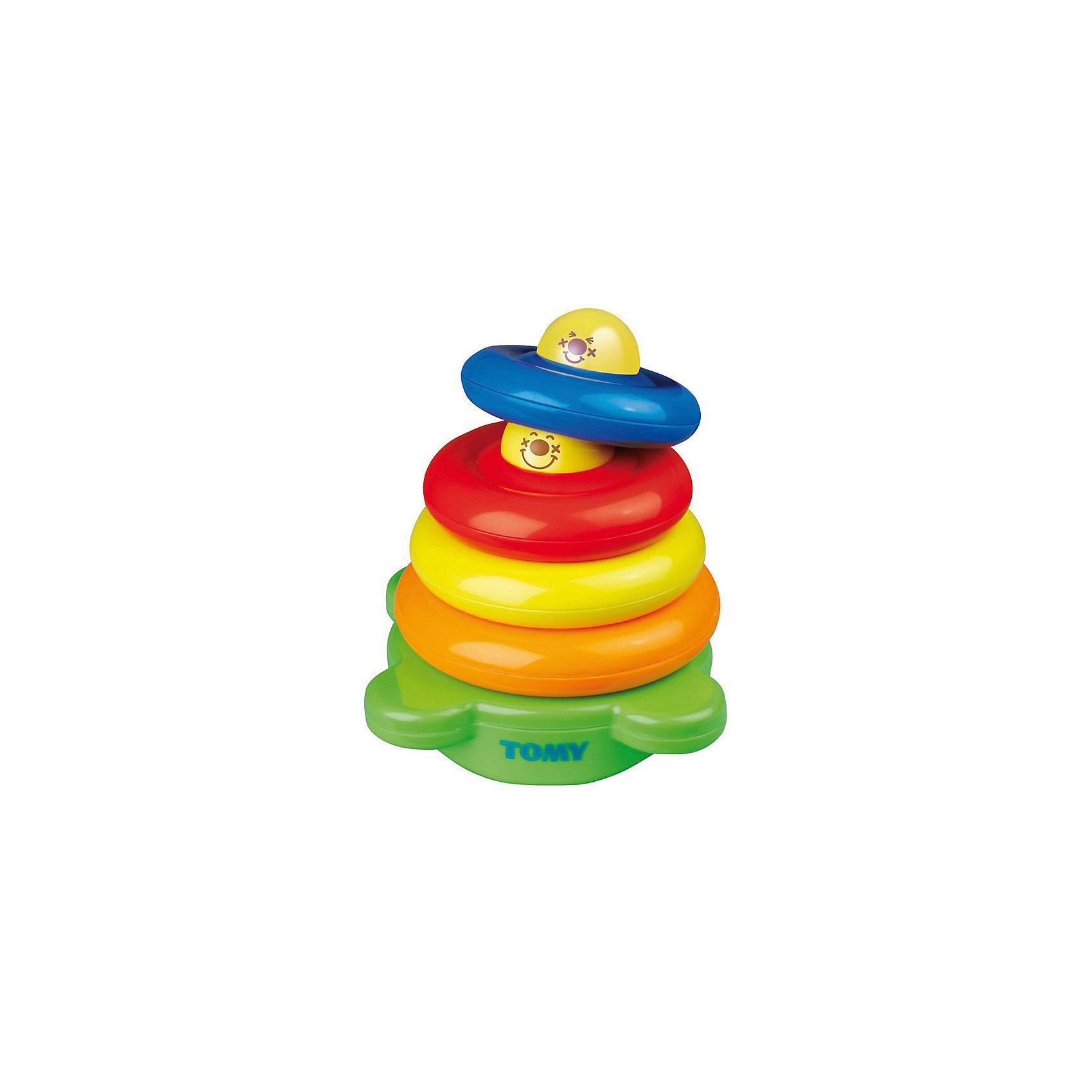 Игрушка Веселая Пирамидка, TOMYПирамидки<br>Развивающая игрушка Пирамидка от известного производителя игрушек TOMY (Томи) - это очень нужная вещь для Вашего малыша. Игрушка несёт в себе не только развлекающую функцию, но и развивающую! Развивающие игрушки - это необходимый атрибут в процессе развития всех малышей. <br><br>Пирамидка проста в использовании, выполнена из качественного материала и не представляет опасности для ребёнка. Когда малыш разберет пирамидку до основания, он обнаружит гремящий шарик. Игрушка поможет в развитии моторики рук, восприятию цвета и формы, способствует развитию логики.<br><br>Развивающую игрушку Пирамидка от TOMY (Томи) можно купить в нашем интернет-магазине.<br><br>Дополнительная информация:<br>- Материал: пластмасса<br>- Размер: 21 х 20 х 16 см<br><br>ВНИМАНИЕ! Данный товар представлен в ассортименте, и возможно получение пирамидки с 4 или с 5 кольцами. Количество колец пирамидки указано на упаковке. К сожалению, предварительный выбор не возможен.<br><br>Игрушку Веселая Пирамидка, TOMY можно купить в нашем магазине.<br><br>Ширина мм: 160<br>Глубина мм: 210<br>Высота мм: 200<br>Вес г: 645<br>Возраст от месяцев: 6<br>Возраст до месяцев: 36<br>Пол: Унисекс<br>Возраст: Детский<br>SKU: 1602926