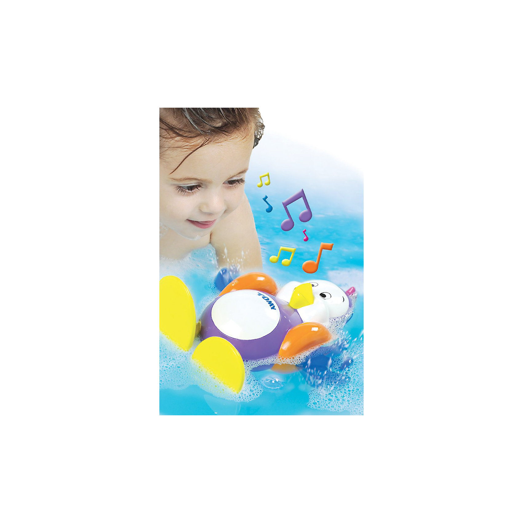 Игрушка для ванной Плескающийся пингвин, TOMYДинамические игрушки<br>Игрушка для ванной «Пингвин» из серии AQUA FUN известного бренда TOMY (Томи) - это волшебная игрушка с уникальными возможностями для детей сделает купания Вашего малыша невероятно весёлыми!<br><br>Заведите пингвина и переверните его на спину - и он споёт Вашему малышу весёлую песенку, гребя при этом лапками. Плавая на животике, пингвин булькает, словно он и вправду плавает под водой.<br><br>Пингвинёнок также может мило бормотать на своём пингвинском языке, стоит только нажать на его маленький хохолок на макушке.<br><br>Превратите водные процедуры Вашего малыша в удовольствие!<br><br>Дополнительная информация:<br><br>Материал: пластмасса<br>Размер: 25 х 18 х 12 см (высота х ширина х глубина).<br>Работает на 3 гальванических элементах LR44 (входят в комплект).<br><br>Игрушку для ванной Плескающийся пингвин, TOMY (Томи) можно купить в нашем магазине.<br><br>Ширина мм: 218<br>Глубина мм: 187<br>Высота мм: 124<br>Вес г: 332<br>Возраст от месяцев: 12<br>Возраст до месяцев: 48<br>Пол: Унисекс<br>Возраст: Детский<br>SKU: 1602933
