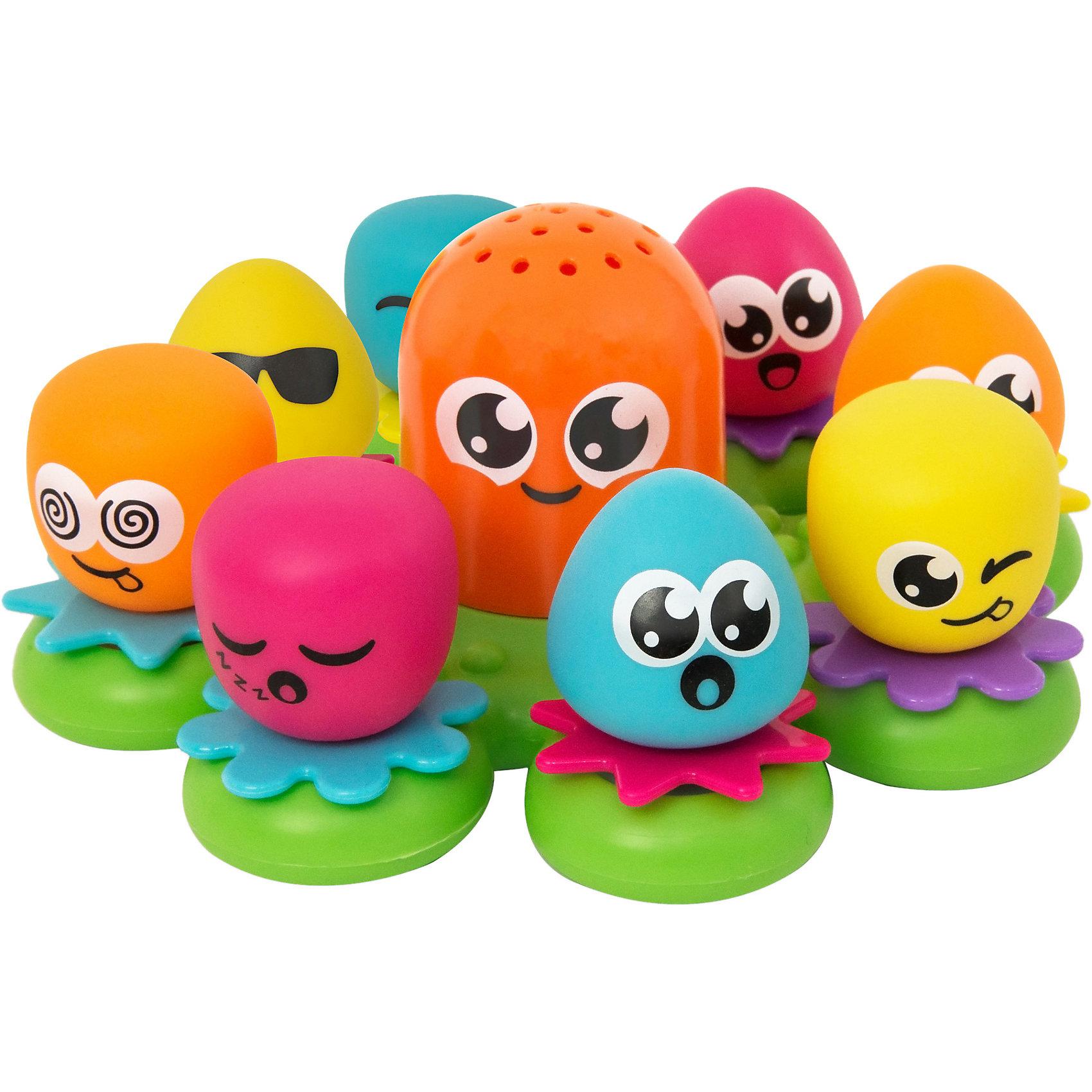 Игрушка для ванной Друзья Осьминоги, TOMYХарактеристики игрушки для ванной Друзья Осьминоги:<br><br>- возраст: от 12 месяцев<br>- пол: для мальчиков и девочек<br>- комплект: основа, 8 осьминогов.<br>- материал: пластик, полимер.<br>- размер упаковки: 30 * 13 * 30 см.<br>- упаковка: картонная коробка.<br>- вес: 640 гр.<br>- диаметр игрушки: 25 см.<br>- страна обладатель бренда: Великобритания.<br><br>Замечательный набор для ванной Друзья осьминоги из серии Aqua Fun смогут сделать процесс купания для ребенка более интересным и увлекательным. Восемь осьминогов с милыми мордашками готовы составить компанию в ванной своему юному владельцу. Осьминоги выполнены из пластика и окрашены в яркие притягательные цвета, благодаря чему они смогут понравиться любому малышу.<br>Все они снабжены присосками, благодаря чему их можно прикрепить к кафелю. Также эти морские создания умеют брызгаться водой. С такими забавными существами ребенок сможет забыть про скуку во время купания.<br><br>Игрушку для ванной Друзья Осьминоги торговой марки Tomy (Томи) можно купить в нашем интернет-магазине.<br><br>Ширина мм: 304<br>Глубина мм: 284<br>Высота мм: 132<br>Вес г: 615<br>Возраст от месяцев: 12<br>Возраст до месяцев: 48<br>Пол: Унисекс<br>Возраст: Детский<br>SKU: 1602934