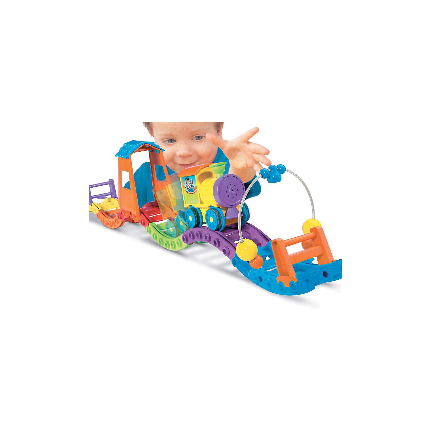 """Паровозик Чу-Чу, TOMYКрасочный, яркий и удивительно интересный паровозик фирмы ТОМY (Томи) не оставит ни одного малыша равнодушным! <br><br>Дети могут играть с этой невероятной игрушкой уже в возрасте от 1,5 лет.<br>С помощью разноцветных рельсов, входящих в комплект, Ваш малыш сможет создать свою первую собственную железную дорогу. Детали дороги очень хорошо состыкуются между собой, а их специальная форма позволяет Вашему ребёнку создавать дороги самых разнообразных форм. Это может быть и волнообразная дорога,  дорога с маленькими горками и даже дорога в форме замкнутого круга! Здесь Ваш ребёнок может использовать всю свою фантазию! Более того железную дорогу также можно украсить с помощью арки с забавными шариками и красочного тоннеля.<br><br>После того как дорога будет построена, ребёнок может  поставить на неё забавный интерактивный паровозик. Нажав на трубу паровозика, он со свистом и веселым звуком """"Ту-ту"""" помчится по железной дороге. Чтобы паровозик не упал, существуют два ограничителя. Сталкиваясь с ними, и с любыми другими препятствиями, паровозик меняет направление своего движения. Если он двигался вперёд, то при столкновении понесётся назад, и наоборот.<br><br>С помощью этой уникальной игрушки у Вашего малыша будет развиваться воображение, мышление и фантазия, откроются новые таланты, так как он постоянно будет придумывать всё новые и новые варианты построения дороги. Более того, у него будет развиваться ловкость, моторика и координация.<br><br>Доставьте удовольствие Вашему ребёнку!<br><br>В набор входят:<br>- паровозик со звуком<br>- детали железной дороги 8 штук<br>- съёмный тоннель<br>- забавная арка с шариками<br>- 2 ограничителя<br><br><br>Дополнительная информация:<br>Материал: пластмасса высокого качества<br>Вес: 500 гр.<br><br>Размеры:<br>Длина всей дороги – 61 см<br>Паровозик – 9х5х8 см<br>Требуются 3 батарейки типа LR3 Micro (в комплект не входят)<br><br>Ширина мм: 345<br>Глубина мм: 210<br>Высота мм: 95<br>Вес г: 589<br>Возраст от месяцев: 12<b"""