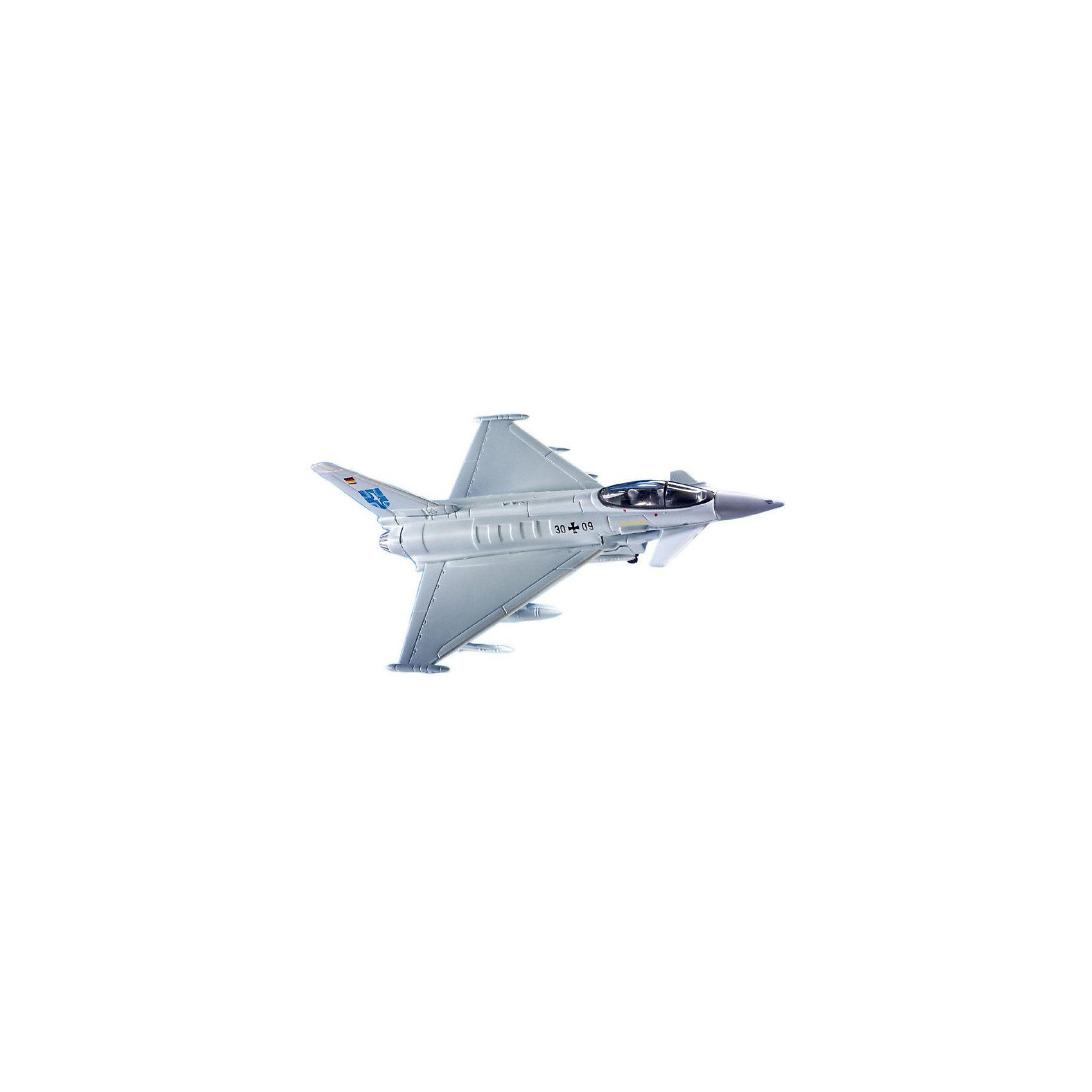 Сборка самолет Eurofighter (1/100)Модели для склеивания<br>Характеристики товара:<br><br>• возраст: от 6 лет;<br>• масштаб: 1:100;<br>• количество деталей: 22 шт;<br>• материал: пластик; <br>• клей и краски в комплект не входят;<br>• габариты модели: 16,1х13,1 см;<br>• бренд, страна бренда: Revell (Ревел),Германия;<br>• страна-изготовитель: Польша.<br><br>Сборная модель «Самолет Eurofighter» поможет вам и вашему ребенку придумать увлекательное занятие на долгое время и получить игрушку в виде настоящего военного самолета. Самолет вооружен 27-мм пушкой Маузер BK-27. Кроме того Eurofighter способен нести ракеты и бомбы общим весом в 6500 кг.<br><br>Набор включает в себя 22 пластиковых элемента и подробную инструкцию. Все детали предварительно окрашены, а сама модель собирается без клея, при помощи специальных зажимов. Готовый истребитель украсит стол или книжную полку ребенка. <br><br>Процесс сборки развивает интеллектуальные и инструментальные способности, воображение и конструктивное мышление, а также прививает практические навыки работы со схемами и чертежами.<br><br>Сборную модель «Самолет Eurofighter», 22 дет., Revell (Ревел) можно купить в нашем интернет-магазине.<br><br>Ширина мм: 243<br>Глубина мм: 158<br>Высота мм: 42<br>Вес г: 255<br>Возраст от месяцев: 72<br>Возраст до месяцев: 168<br>Пол: Мужской<br>Возраст: Детский<br>SKU: 1604147