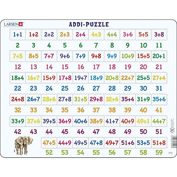 Пазл Сложение, 81 деталь, LarsenПособия для обучения счёту<br>Пазл Сложение, 81 деталь, Larsen (Ларсен) из серии «Математика» превращает эту серьезную науку в веселую игру и знакомит детей с примерами сложения в игровой форме. На самом картоне напечатаны ответы, а детям необходимо найти соответствующий пример сложения. Если ответ неправильный, то деталь не подойдет. Изготовлен пазл из плотного трехслойного картона, имеет специальную подложку и рамку, которые облегчают процесс сборки. Высокое качество материала и печати не допускают износа, расслаивания, деформации деталей и стирания рисунка. Занятия по сборке пазла развивают мелкую моторику пальцев, образное и логическое мышление, пространственное воображение, память, внимание, усидчивость, координацию движений.<br><br>Дополнительная информация:<br><br>- Количество элементов: 81 деталь<br>- Материал: плотный трехслойный картон<br>- Размер пазла: 36,5 x 28,5 см.<br><br>Пазл Сложение, 81 деталь, Larsen (Ларсен) можно купить в нашем интернет-магазине.<br><br>Ширина мм: 366<br>Глубина мм: 284<br>Высота мм: 7<br>Вес г: 320<br>Возраст от месяцев: 72<br>Возраст до месяцев: 108<br>Пол: Унисекс<br>Возраст: Детский<br>Количество деталей: 81<br>SKU: 1604366