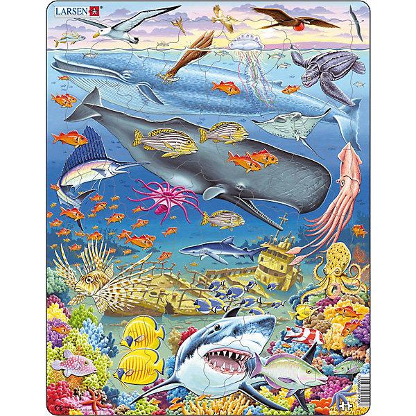 Пазл Киты, 66 деталей, LarsenПазлы для малышей<br>Пазл Киты, 66 деталей, Larsen (Ларсен) – этот обучающий и развивающий пазл, обязательно понравится вашему ребенку.<br>На красочном пазле Киты норвежской фирмы Ларсен представлены морские обитатели. Разнообразные киты, акулы, кальмары, множество ярких рыбок и кораллы появятся на картинке, когда ваш ребенок сможет собрать все детали вместе. Изготовлен пазл из плотного трехслойного картона, имеет специальную подложку и рамку, которые облегчают процесс сборки. Принцип сборки пазла заключается в использовании принципа совместимости изображений и контуров пазла. Если малыш не сможет совместить детали пазла по рисунку, он сделает это по контуру пазла, вставив его в подложку как вкладыш. Высокое качество материала и печати не допускают износа, расслаивания, деформации деталей и стирания рисунка. Многообразие форм и разные размеры деталей пазла развивают мелкую моторику пальцев. Занятия по сборке пазла развивают образное и логическое мышление, пространственное воображение, память, внимание, усидчивость, координацию движений.<br><br>Дополнительная информация:<br><br>- Количество элементов: 66 деталей<br>- Материал: плотный трехслойный картон<br>- Размер пазла: 36,5 x 28,5 см.<br><br>Пазл Киты, 66 деталей, Larsen (Ларсен) можно купить в нашем интернет-магазине.<br><br>Ширина мм: 367<br>Глубина мм: 286<br>Высота мм: 10<br>Вес г: 316<br>Возраст от месяцев: 60<br>Возраст до месяцев: 84<br>Пол: Унисекс<br>Возраст: Детский<br>Количество деталей: 66<br>SKU: 1604372