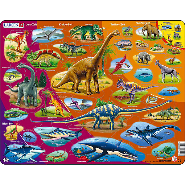 Пазл Динозавры, 85 деталей, LarsenПазлы для малышей<br>Пазл Динозавры, 85 деталей, Larsen (Ларсен) представляет собой настоящее учебное пособие, дающее возможность проследить эволюцию животного мира Земли в хронологическом порядке, начиная с триасового периода до антропогена и наших дней. Каждый период отличается цветом фона (от фиолетового до желтого) и подписан русскими буквами. Малыш познакомится с динозаврами и вымершими рептилиями, а также некоторыми современными животными. Названия всех млекопитающих подписаны на русском языке. Яркое, детальное и красочное изображение самых разных млекопитающих позволит малышу в игровой форме познать теорию эволюции в терминах и картинках. Изготовлен пазл из плотного трехслойного картона, имеет специальную подложку и рамку, которые облегчают процесс сборки. Принцип сборки пазла заключается в использовании принципа совместимости изображений и контуров пазла. Если малыш не сможет совместить детали пазла по рисунку, он сделает это по контуру пазла, вставив его в подложку как вкладыш. Высокое качество материала и печати не допускают износа, расслаивания, деформации деталей и стирания рисунка. Многообразие форм и разные размеры деталей пазла развивают мелкую моторику пальцев. Занятия по сборке пазла развивают образное и логическое мышление, пространственное воображение, память, внимание, усидчивость, координацию движений.<br><br>Дополнительная информация:<br><br>- Количество элементов: 85 деталей<br>- Материал: плотный трехслойный картон<br>- Размер пазла: 36,5 x 28,5 см.<br><br>Пазл Динозавры, 85 деталей, Larsen (Ларсен) можно купить в нашем интернет-магазине.<br>Ширина мм: 365; Глубина мм: 286; Высота мм: 7; Вес г: 317; Возраст от месяцев: 60; Возраст до месяцев: 84; Пол: Мужской; Возраст: Детский; Количество деталей: 85; SKU: 1604373;