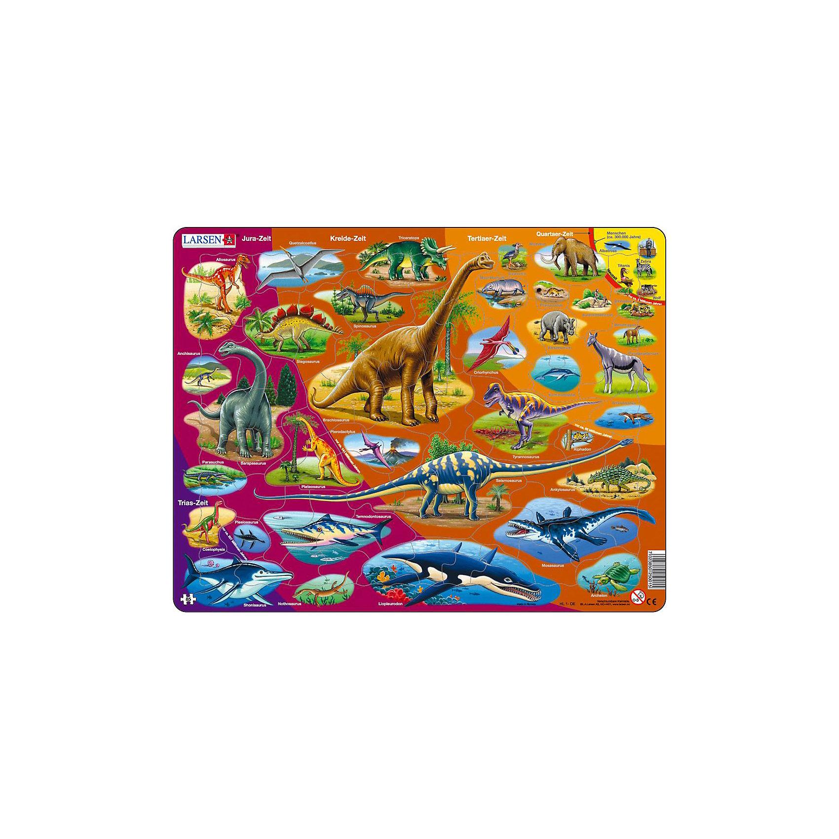 Пазл Динозавры, 85 деталей, LarsenКлассические пазлы<br>Пазл Динозавры, 85 деталей, Larsen (Ларсен) представляет собой настоящее учебное пособие, дающее возможность проследить эволюцию животного мира Земли в хронологическом порядке, начиная с триасового периода до антропогена и наших дней. Каждый период отличается цветом фона (от фиолетового до желтого) и подписан русскими буквами. Малыш познакомится с динозаврами и вымершими рептилиями, а также некоторыми современными животными. Названия всех млекопитающих подписаны на русском языке. Яркое, детальное и красочное изображение самых разных млекопитающих позволит малышу в игровой форме познать теорию эволюции в терминах и картинках. Изготовлен пазл из плотного трехслойного картона, имеет специальную подложку и рамку, которые облегчают процесс сборки. Принцип сборки пазла заключается в использовании принципа совместимости изображений и контуров пазла. Если малыш не сможет совместить детали пазла по рисунку, он сделает это по контуру пазла, вставив его в подложку как вкладыш. Высокое качество материала и печати не допускают износа, расслаивания, деформации деталей и стирания рисунка. Многообразие форм и разные размеры деталей пазла развивают мелкую моторику пальцев. Занятия по сборке пазла развивают образное и логическое мышление, пространственное воображение, память, внимание, усидчивость, координацию движений.<br><br>Дополнительная информация:<br><br>- Количество элементов: 85 деталей<br>- Материал: плотный трехслойный картон<br>- Размер пазла: 36,5 x 28,5 см.<br><br>Пазл Динозавры, 85 деталей, Larsen (Ларсен) можно купить в нашем интернет-магазине.<br><br>Ширина мм: 365<br>Глубина мм: 286<br>Высота мм: 7<br>Вес г: 317<br>Возраст от месяцев: 60<br>Возраст до месяцев: 84<br>Пол: Мужской<br>Возраст: Детский<br>Количество деталей: 85<br>SKU: 1604373