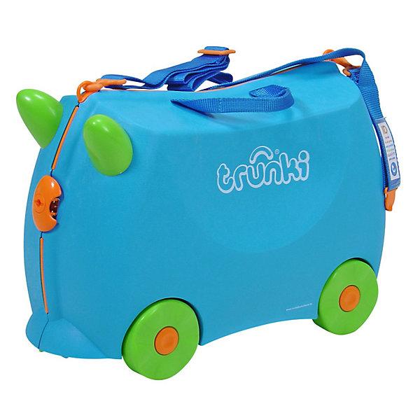 Голубой чемодан на колесикахДорожные сумки и чемоданы<br>Детский чемодан на колесиках Trunki - оригинальный чемодан для веселых, но очень практичных юных путешественников. Многофункциональный детский чемодан, с которым можно и поиграть, и отправиться в путешествие, на нем можно покататься или же посидеть-отдохнуть. Чемодан на все случаи жизни!<br><br>Дополнительная информация:<br><br>- Материал: пластик, металл.<br>- Колеса: 4 шт.<br>- Размер: 31х21х46 см. <br>- Вместительность: 18 литров. <br>- Вес: 1,7 кг.<br>- Количество отделений: 2.<br>- Цвет: голубой.<br>- Максимальный вес: 45 кг. <br><br>Голубой чемодан на колесиках от trunki (Транки) можно купить в нашем магазине.<br>Ширина мм: 470; Глубина мм: 335; Высота мм: 220; Вес г: 2200; Возраст от месяцев: 36; Возраст до месяцев: 72; Пол: Мужской; Возраст: Детский; SKU: 1607200;