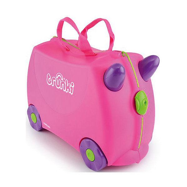 Чемодан на колесиках РозовыйДорожные сумки и чемоданы<br>Вместительный удобный чемодан Розовый - замечательный вариант для маленьких путешественниц. Оригинальный чемодан выполнен из прочного пластика и имеет привлекательный дизайн с ярко-розовой расцветкой. Размеры позволяют брать его в самолет как ручную кладь. Чемоданчик может использоваться как детский стульчик и как оригинальное средство передвижения. Благодаря надежным колесикам, удобной конструкции седла и стабилизаторам малышка ездит на чемодане как на каталке, отталкиваясь ножками и держась за рожки. <br><br>Чемодан оснащен удобными ручками для переноски и надежным замком с ключиком. С помощью ручного буксировочного ремня его можно везти по полу или нести на плече. Внутри просторное двустворчатое отделение для одежды и дорожных принадлежностей с ремнями для фиксации одежды, а также потайные секретные отсеки для мелочей. Все детали выполнены из экологически чистых, безопасных для детского здоровья материалов. Собственный чемодан для путешествий позволит ребенку почувствовать себя взрослым и самостоятельным.<br><br>Дополнительная информация:<br><br>- Материал: высококачественный пластик.<br>- Объем: 18 л.<br>- Максимальная нагрузка: 45 кг.<br>- Размер чемодана: 46 х 20,5 х 31 см.<br>- Вес: 1,7 кг.<br><br>Чемодан на колесиках Розовый, Trunki, можно купить в нашем интернет-магазине.<br>Ширина мм: 480; Глубина мм: 335; Высота мм: 230; Вес г: 2200; Возраст от месяцев: 36; Возраст до месяцев: 72; Пол: Женский; Возраст: Детский; SKU: 1607201;
