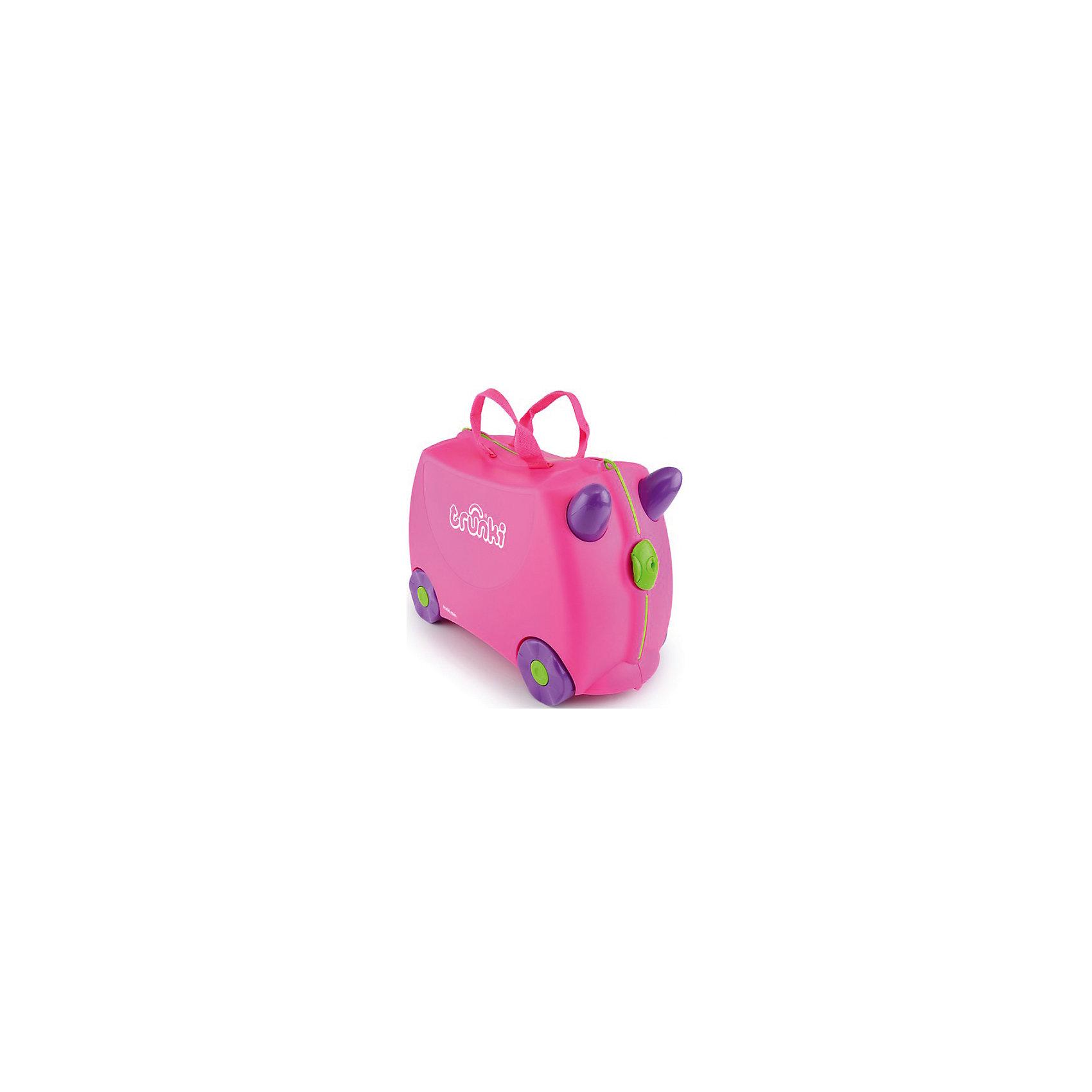 Чемодан на колесиках РозовыйДорожные сумки и чемоданы<br>Вместительный удобный чемодан Розовый - замечательный вариант для маленьких путешественниц. Оригинальный чемодан выполнен из прочного пластика и имеет привлекательный дизайн с ярко-розовой расцветкой. Размеры позволяют брать его в самолет как ручную кладь. Чемоданчик может использоваться как детский стульчик и как оригинальное средство передвижения. Благодаря надежным колесикам, удобной конструкции седла и стабилизаторам малышка ездит на чемодане как на каталке, отталкиваясь ножками и держась за рожки. <br><br>Чемодан оснащен удобными ручками для переноски и надежным замком с ключиком. С помощью ручного буксировочного ремня его можно везти по полу или нести на плече. Внутри просторное двустворчатое отделение для одежды и дорожных принадлежностей с ремнями для фиксации одежды, а также потайные секретные отсеки для мелочей. Все детали выполнены из экологически чистых, безопасных для детского здоровья материалов. Собственный чемодан для путешествий позволит ребенку почувствовать себя взрослым и самостоятельным.<br><br>Дополнительная информация:<br><br>- Материал: высококачественный пластик.<br>- Объем: 18 л.<br>- Максимальная нагрузка: 45 кг.<br>- Размер чемодана: 46 х 20,5 х 31 см.<br>- Вес: 1,7 кг.<br><br>Чемодан на колесиках Розовый, Trunki, можно купить в нашем интернет-магазине.<br><br>Ширина мм: 480<br>Глубина мм: 335<br>Высота мм: 230<br>Вес г: 2200<br>Возраст от месяцев: 36<br>Возраст до месяцев: 72<br>Пол: Женский<br>Возраст: Детский<br>SKU: 1607201