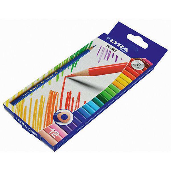 Цветные треугольные карандаши, 12 шт.Письменные принадлежности<br>Характеристики товара:<br><br>• в комплекте: 12 карандашей (12 цветов);<br>• диаметр грифеля: 2,8 мм;<br>• размер упаковки: 17х2х6 см;<br>• вес: 40 грамм;<br>• возраст: от 3 лет.<br><br>Набор Lyra OSIRIS состоит из 12 карандашей с треугольным сечением. Карандаши удобны для детских ручек, поэтому они подходят и для самых маленьких художников. Высококачественные материалы обеспечивают мягкое рисование и насыщенные цвета линий. Грифель устойчив к падениям и механическим повреждениям. Карандаши изготовлены из экологически чистой древесины.<br><br>Lyra (Лира) OSIRIS 12цв.цветные карандаши, треуг.сечение можно купить в нашем интернет-магазине.<br>Ширина мм: 212; Глубина мм: 90; Высота мм: 10; Вес г: 79; Возраст от месяцев: 60; Возраст до месяцев: 1200; Пол: Унисекс; Возраст: Детский; SKU: 1612366;