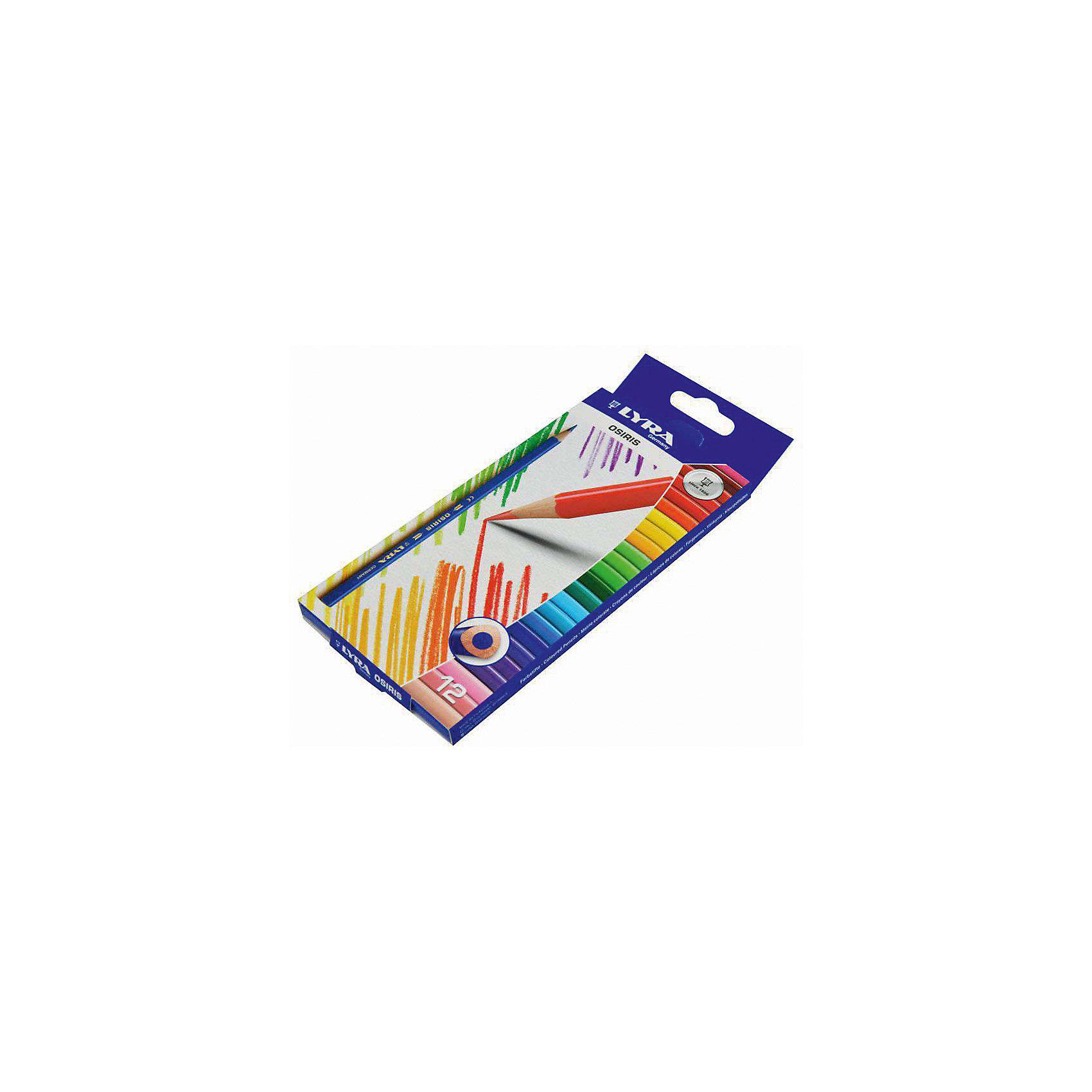 Цветные треугольные карандаши, 12 шт.Письменные принадлежности<br>Характеристики товара:<br><br>• в комплекте: 12 карандашей (12 цветов);<br>• диаметр грифеля: 2,8 мм;<br>• размер упаковки: 17х2х6 см;<br>• вес: 40 грамм;<br>• возраст: от 3 лет.<br><br>Набор Lyra OSIRIS состоит из 12 карандашей с треугольным сечением. Карандаши удобны для детских ручек, поэтому они подходят и для самых маленьких художников. Высококачественные материалы обеспечивают мягкое рисование и насыщенные цвета линий. Грифель устойчив к падениям и механическим повреждениям. Карандаши изготовлены из экологически чистой древесины.<br><br>Lyra (Лира) OSIRIS 12цв.цветные карандаши, треуг.сечение можно купить в нашем интернет-магазине.<br><br>Ширина мм: 212<br>Глубина мм: 90<br>Высота мм: 10<br>Вес г: 79<br>Возраст от месяцев: 60<br>Возраст до месяцев: 1200<br>Пол: Унисекс<br>Возраст: Детский<br>SKU: 1612366