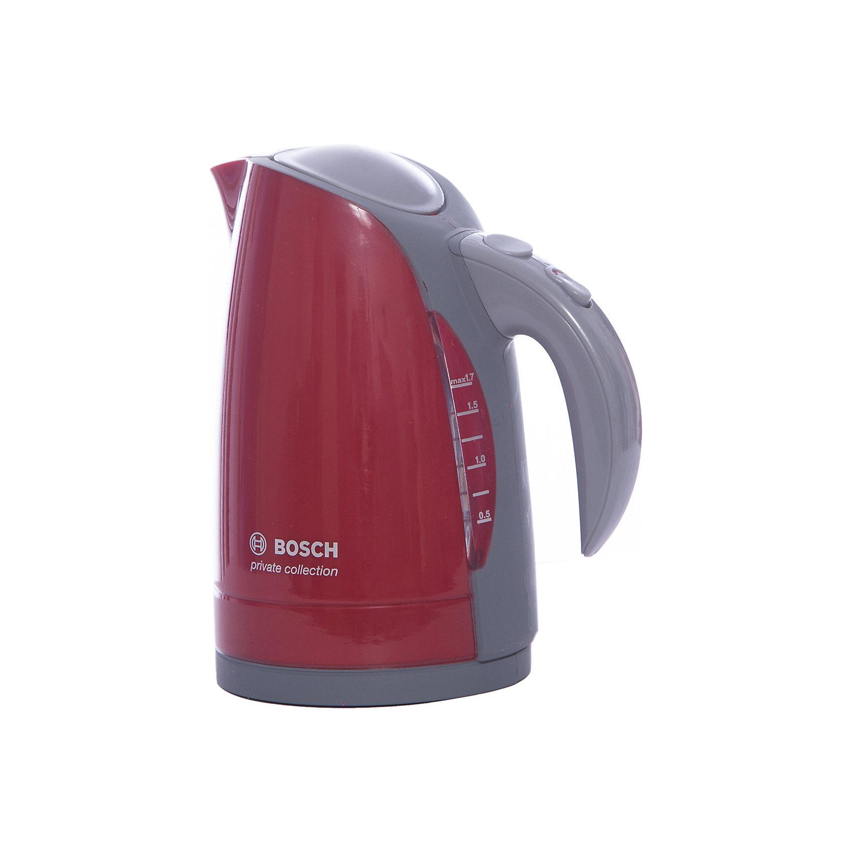 Чайник Bosch, KleinИгрушечная бытовая техника<br>Чайник Bosch, Klein (Кляйн) - уменьшенная копия своего одноименного прототипа. Налейте воду, нажмите на кнопочку и приготовьте вкуснейший чай для своих игрушек. Несмотря на реалистичность, чайник достаточно легкий и безопасный для ребенка. Прекрасный выбор для юных хозяек!<br><br>Дополнительная информация:<br>Материал: пластик<br>Размер упаковки: 15х8,5х14 см<br>Размер чайника: 14х11,5х8 см<br>Вес: 200 грамм<br><br>Чайник Bosch, Klein можно приобрести в нашем интернет-магазине.<br><br>Ширина мм: 159<br>Глубина мм: 144<br>Высота мм: 104<br>Вес г: 210<br>Возраст от месяцев: 36<br>Возраст до месяцев: 72<br>Пол: Женский<br>Возраст: Детский<br>SKU: 1612487