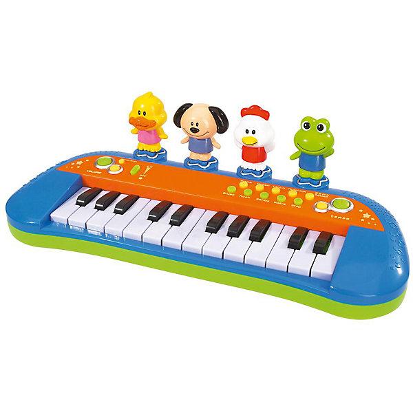 Пианино Веселая ферма, SimbaПианино<br>Развивающая игрушка Пианино Веселая ферма, Simba (Симба) поможет малышу сыграть первую мелодию благодарным слушателям. Пианино Веселая ферма будет замечательным и нужным подарком для ребенка, который очень любит музыку.<br><br>Пианино имеет 14 белых и 10 черных клавиш, а также кнопки, позволяющие выбирать ритм, тон и звуки, что даст возможность ребенку проявить фантазию и сыграть оригинальную музыку собственного сочинения. Можно выбрать быстрый или медленный темп, а также один из стилей и инструментов (вальс, самба, блюз, рок, пианино, орган, виолончель), регулировать темп и уровень громкости. Позади кнопок стоят 4 зверушки – утка, собака, курица и лягушка. Каждая из них обладает своим природным голосом и может добавить красок в мелодии, создаваемые ребенком.<br><br>Дополнительна информация:<br><br>-Длина пианино 34 см<br>-Для работы игрушки требуются батарейки 3хААА (есть в комплекте)<br>-Материалы: пластмасса<br><br>С этой игрушкой ваш малыш почувствует себя настоящим композитором, ведь Пианино Веселая ферма-это настоящий детский синтезатор с множеством возможностей и разнообразными функциями.<br><br>Пианино Веселая ферма, Simba (Симба) можно купить в нашем магазине.<br><br>Ширина мм: 335<br>Глубина мм: 145<br>Высота мм: 115<br>Вес г: 636<br>Возраст от месяцев: 12<br>Возраст до месяцев: 36<br>Пол: Унисекс<br>Возраст: Детский<br>SKU: 1612572