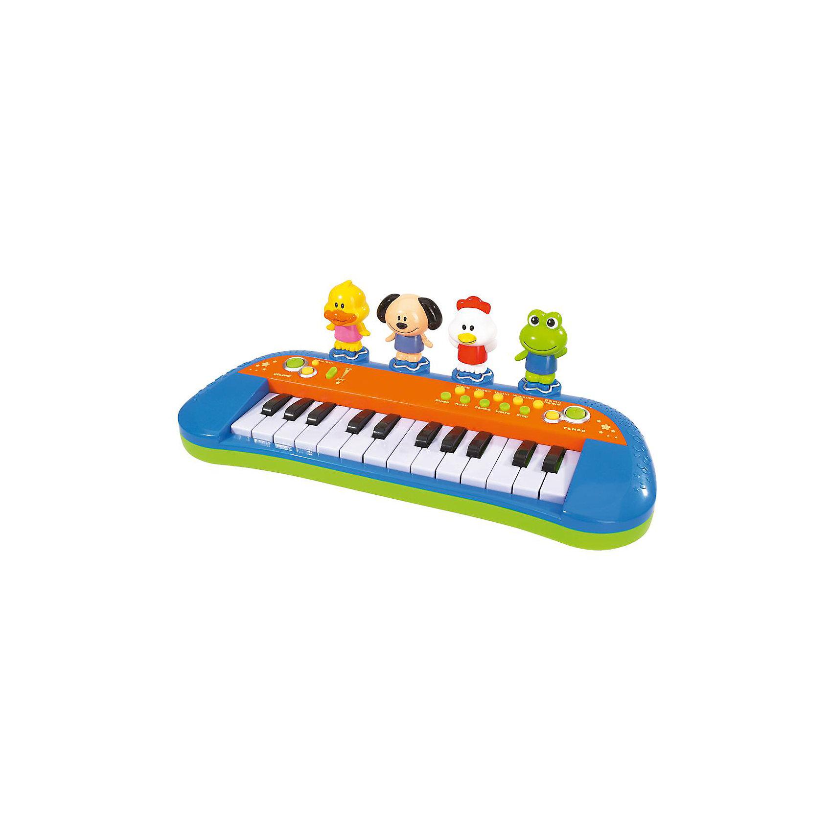 Пианино Веселая ферма, SimbaМузыкальные инструменты и игрушки<br>Развивающая игрушка Пианино Веселая ферма, Simba (Симба) поможет малышу сыграть первую мелодию благодарным слушателям. Пианино Веселая ферма будет замечательным и нужным подарком для ребенка, который очень любит музыку.<br><br>Пианино имеет 14 белых и 10 черных клавиш, а также кнопки, позволяющие выбирать ритм, тон и звуки, что даст возможность ребенку проявить фантазию и сыграть оригинальную музыку собственного сочинения. Можно выбрать быстрый или медленный темп, а также один из стилей и инструментов (вальс, самба, блюз, рок, пианино, орган, виолончель), регулировать темп и уровень громкости. Позади кнопок стоят 4 зверушки – утка, собака, курица и лягушка. Каждая из них обладает своим природным голосом и может добавить красок в мелодии, создаваемые ребенком.<br><br>Дополнительна информация:<br><br>-Длина пианино 34 см<br>-Для работы игрушки требуются батарейки 3хААА (есть в комплекте)<br>-Материалы: пластмасса<br><br>С этой игрушкой ваш малыш почувствует себя настоящим композитором, ведь Пианино Веселая ферма-это настоящий детский синтезатор с множеством возможностей и разнообразными функциями.<br><br>Пианино Веселая ферма, Simba (Симба) можно купить в нашем магазине.<br><br>Ширина мм: 335<br>Глубина мм: 145<br>Высота мм: 115<br>Вес г: 636<br>Возраст от месяцев: 12<br>Возраст до месяцев: 36<br>Пол: Унисекс<br>Возраст: Детский<br>SKU: 1612572