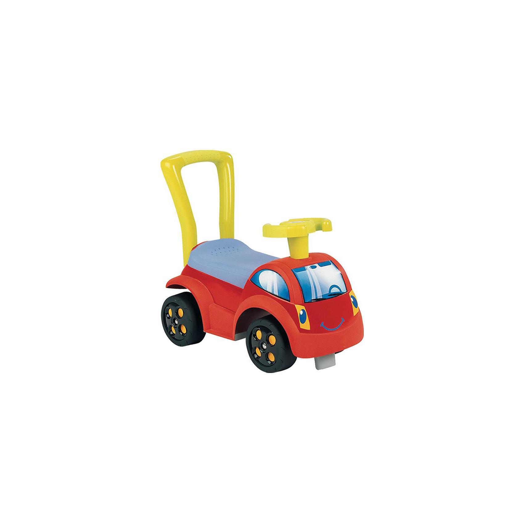 Smoby Каталка веселая машинкаУстойчивая и комфортная машинка-каталка в современном стиле.  <br><br>Малыш может ехать на машине отталкиваясь ногами или при помощи взрослого. Машинка устойчива и удобна: эргономичный руль, широкое сиденье, опорой спинки служит ручка-толкатель, маленький пассажир застрахован от переворачивания. <br><br>Под сиденьем есть место для хранения игрушек и других предметов. <br><br>Особенности товара:<br>+ с 10 месяцев<br>+ грузоподъемность не более 50 кг<br>+ размеры: 42 x 46 x 26 cm<br><br>Ширина мм: 449<br>Глубина мм: 253<br>Высота мм: 196<br>Вес г: 1584<br>Возраст от месяцев: 12<br>Возраст до месяцев: 36<br>Пол: Мужской<br>Возраст: Детский<br>SKU: 1614099