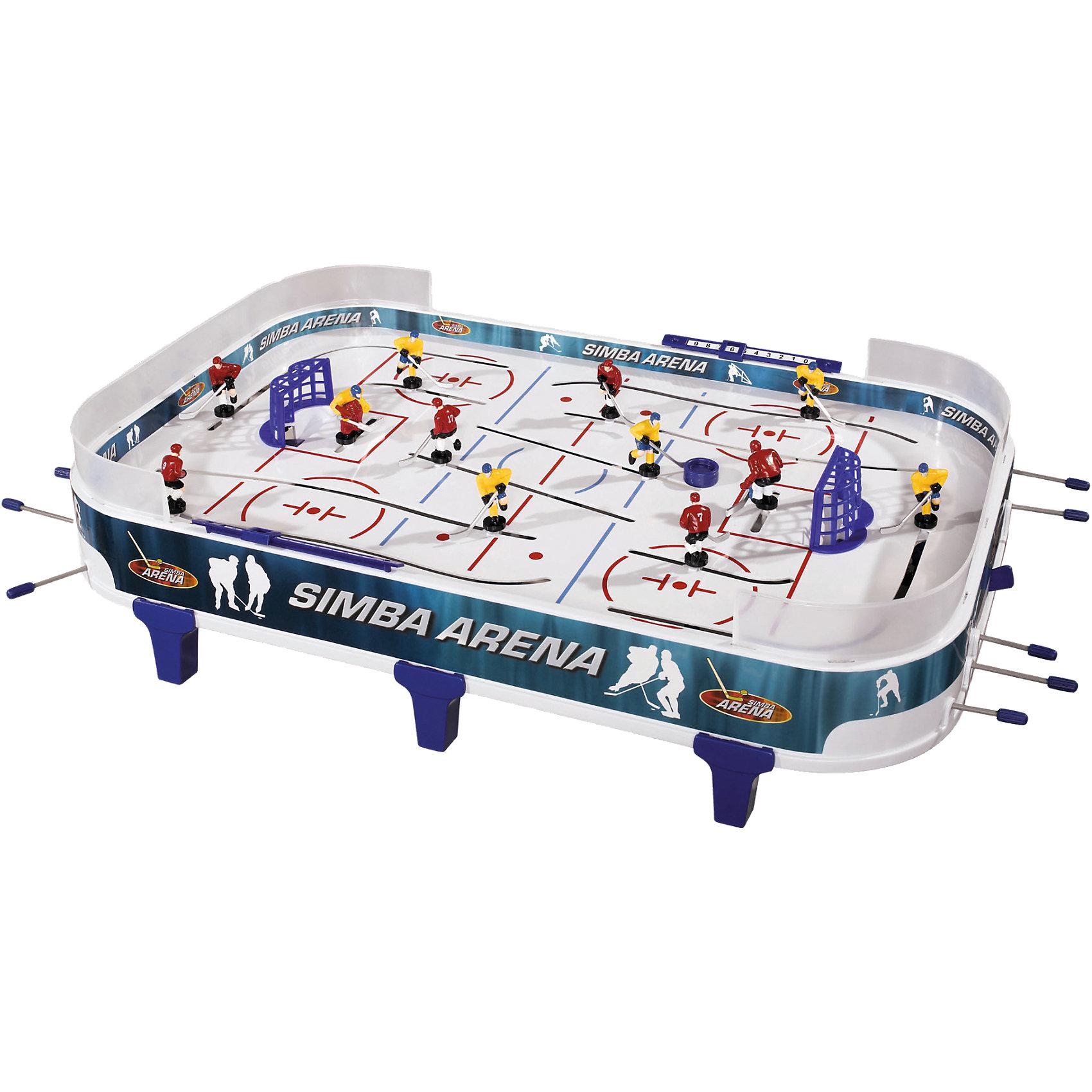 Simba Хоккей настольныйИдеи подарков<br>Увлекательная настольная игра. Цель игры как и в настоящем хоккее - забить как можно больше голов в ворота противника. Фигурки  хоккеистов передвигаются с помощью рычагов управления по краям стола. В комплекте: 10 игроков, 2 вратаря, шайба, счетчик голов на воротах, автоматический выброс шайбы. На бортиках стола есть табло для ведения счёта.<br><br>Дополнительная информация:<br><br>Материал: металл, фигурки изготовлены из упрочненного пластика<br>- Размер игрушки: 66,5 х 42 х 7 см.<br>- Размер упаковки: 70 х 8,5 х 41 см.<br>- Вес: 2,740 кг.<br><br>Игрушка развивает ловкость, координацию, учит работать в команде.<br>Купить  настольный хоккей  можно в нашем магазине.<br><br>Ширина мм: 711<br>Глубина мм: 431<br>Высота мм: 83<br>Вес г: 2325<br>Возраст от месяцев: 60<br>Возраст до месяцев: 144<br>Пол: Мужской<br>Возраст: Детский<br>SKU: 1623571