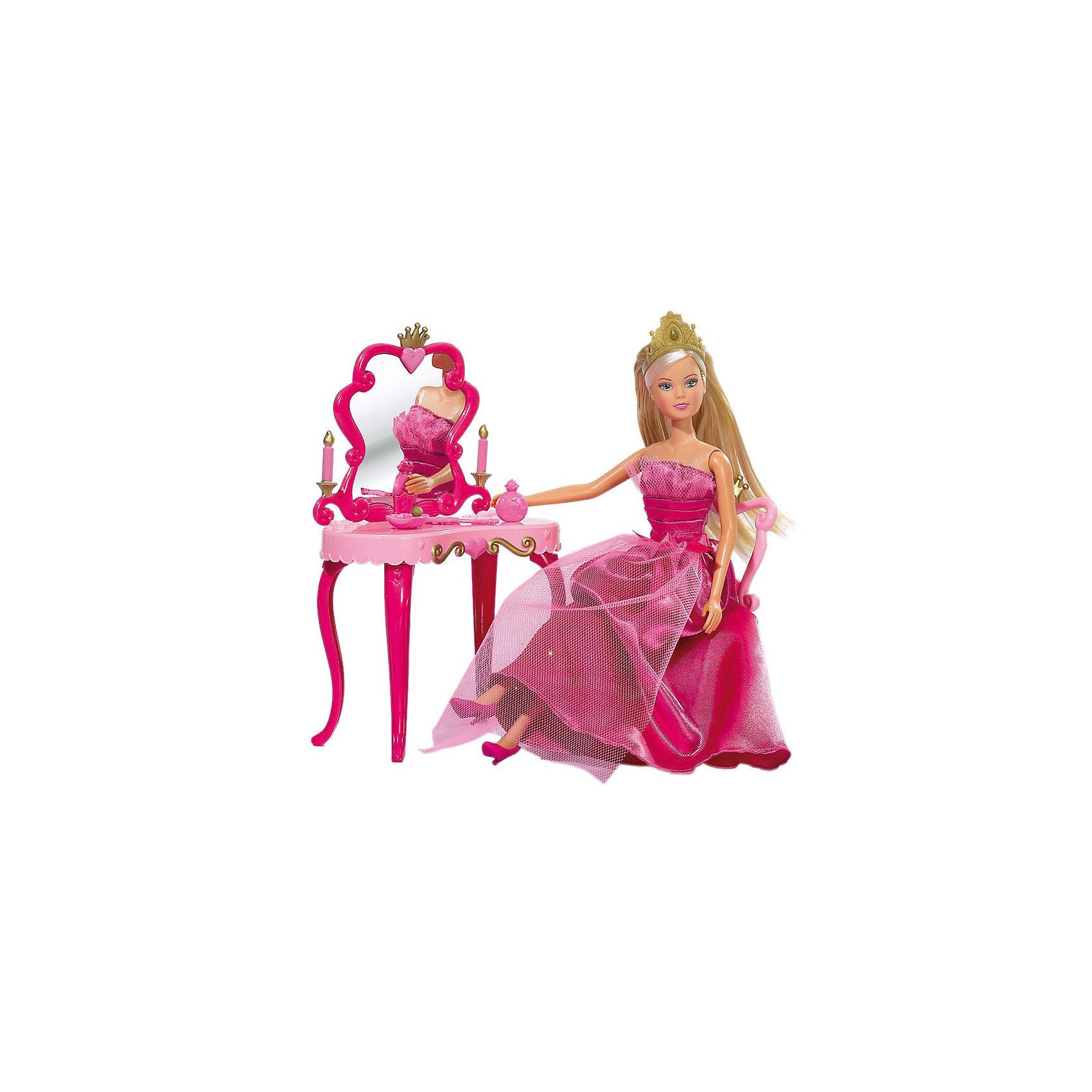 Кукла Штеффи-принцесса + столик, SimbaКуклы-модели<br>Характеристики:<br><br>• в комплекте: кукла, стул, стол, одежда, аксессуары;<br>• руки и ноги подвижны;<br>• можно расчесывать;<br>• высота куклы: 29 см;<br>• материал: пластик, ПВХ, полиэстер, текстиль;<br>• размер упаковки: 33х27х11 см;<br>• вес: 490 грамм.<br><br>Кукла Штеффи выглядит как настоящая принцесса. Он одета в пышное розовое платье с бантом, розовые туфельки, а голову украшает золотистая диадема.<br><br>Каждой принцессе необходима изысканная мебель, подчеркивающая королевский стиль. В комплект входит роскошный туалетный столик со стулом, достойные внимания принцессы Штеффи.<br><br>Руки и ноги куклы подвижны, волосы можно расчесывать и укладывать в прическу. Девочка сможет придумать интересные сказочные сюжеты из жизни принцесс или подготовить Штеффи к королевскому балу.<br><br>Игра с такой куклой способствует развитию, фантазии, воображения, а также стимулирует интерес к сюжетно-ролевым играм.<br><br>Куклу Штеффи-принцесса + столик, Simba (Симба) можно купить в нашем интернет-магазине.<br><br>Ширина мм: 329<br>Глубина мм: 274<br>Высота мм: 111<br>Вес г: 488<br>Возраст от месяцев: 36<br>Возраст до месяцев: 2147483647<br>Пол: Женский<br>Возраст: Детский<br>SKU: 1623595