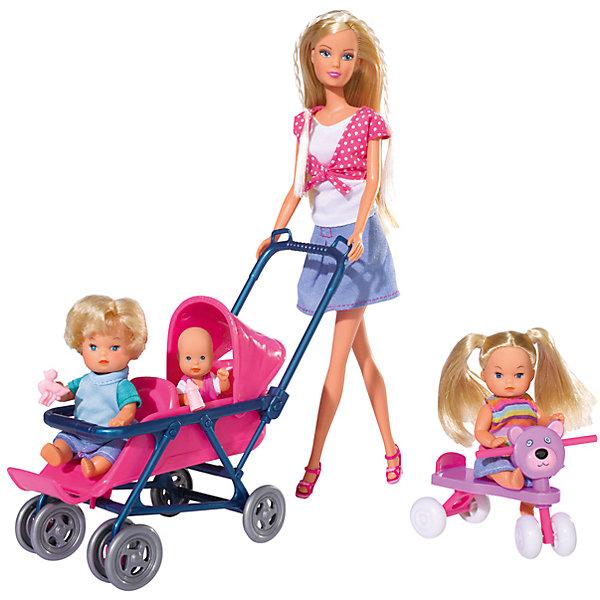 Steffi Love Набор Детский мир, 4 куклыНаборы с куклой<br>Кукла Steffi Love с 3 очаровательными малышами и множеством принадлежностей.<br>Штеффи заботливая няня трех симпатичных малышей. У нее много дел, ведь с малышами нужно успеть и погулять и покормить, а младенца уложить спать в колыбельку. К счастью, для ухода за детьми у нее есть все необходимое: коляска, стульчик для кормления, велосипед и самокат для веселой прогулки.<br><br>Дополнительная информация:<br>      <br>- В комплект входят: Штеффи, 3 малыша и аксессуары: кроватка, коляска для двойни, стульчик для кормления, ходунки, 2 самоката и предметы для ухода.<br> - Высота Штеффи: 29 см.<br>- Материалы: текстиль, пластмасса.   <br>- Размер упаковки (д/ш/в): 11,5 х 35 х 45 см. <br>- Вес: 0,900 кг.<br><br>С набором «Детский мир» игра в куклы станет намного интересней! <br>Приобрести набор Детский мир можно в нашем магазине.<br><br>Ширина мм: 115<br>Глубина мм: 455<br>Высота мм: 325<br>Вес г: 900<br>Возраст от месяцев: 48<br>Возраст до месяцев: 96<br>Пол: Женский<br>Возраст: Детский<br>SKU: 1623598