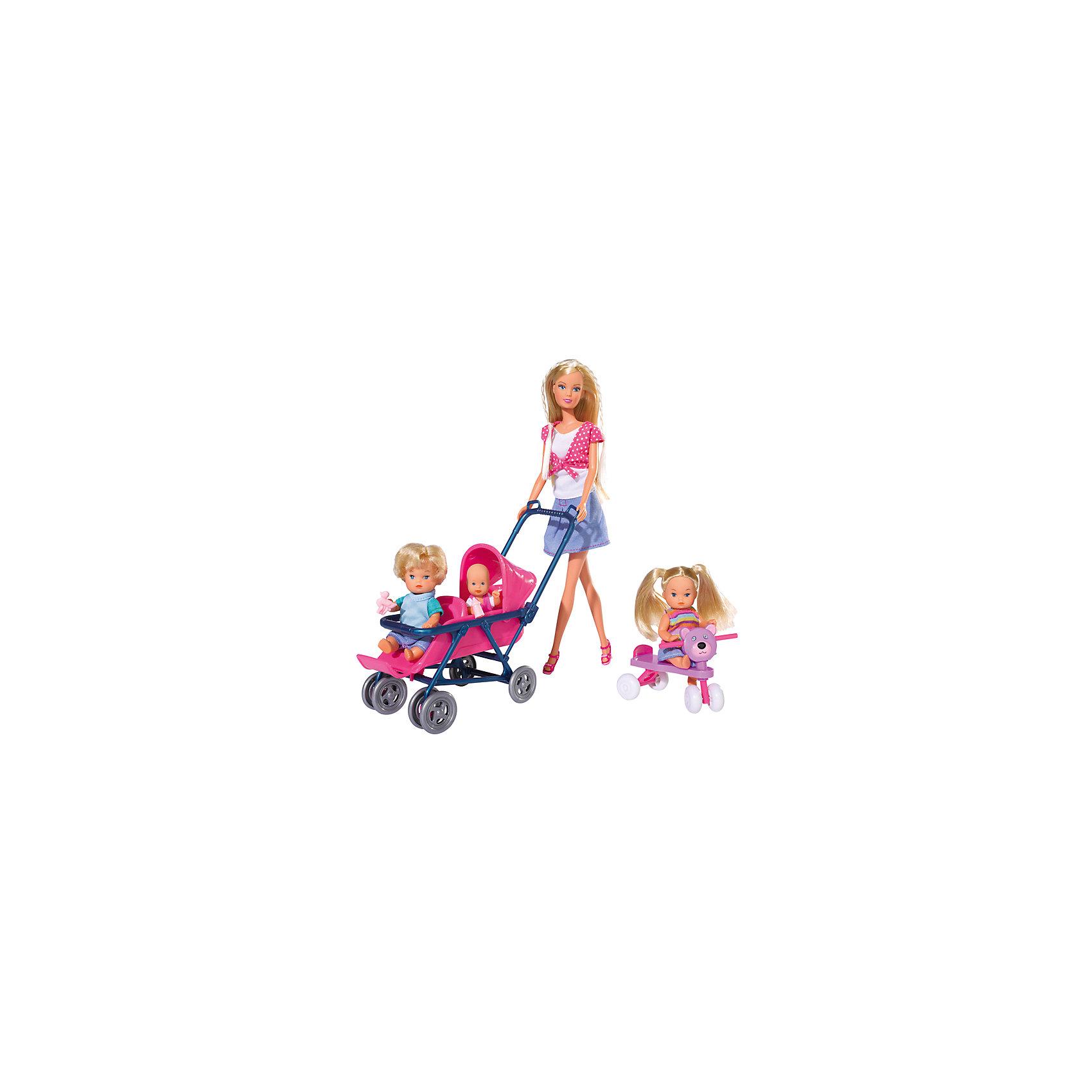 Steffi Love Набор Детский мир, 4 куклыSteffi и Evi Love<br>Кукла Steffi Love с 3 очаровательными малышами и множеством принадлежностей.<br>Штеффи заботливая няня трех симпатичных малышей. У нее много дел, ведь с малышами нужно успеть и погулять и покормить, а младенца уложить спать в колыбельку. К счастью, для ухода за детьми у нее есть все необходимое: коляска, стульчик для кормления, велосипед и самокат для веселой прогулки.<br><br>Дополнительная информация:<br>      <br>- В комплект входят: Штеффи, 3 малыша и аксессуары: кроватка, коляска для двойни, стульчик для кормления, ходунки, 2 самоката и предметы для ухода.<br> - Высота Штеффи: 29 см.<br>- Материалы: текстиль, пластмасса.   <br>- Размер упаковки (д/ш/в): 11,5 х 35 х 45 см. <br>- Вес: 0,900 кг.<br><br>С набором «Детский мир» игра в куклы станет намного интересней! <br>Приобрести набор Детский мир можно в нашем магазине.<br><br>Ширина мм: 115<br>Глубина мм: 455<br>Высота мм: 325<br>Вес г: 900<br>Возраст от месяцев: 48<br>Возраст до месяцев: 96<br>Пол: Женский<br>Возраст: Детский<br>SKU: 1623598