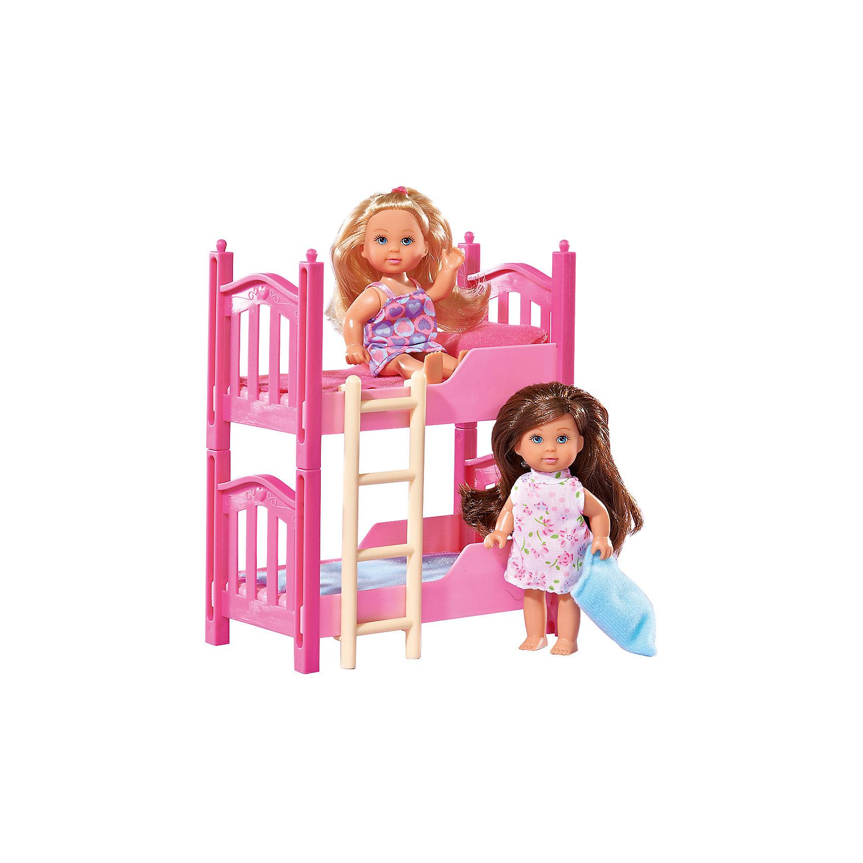 Еви с кроваткой, 2 шт, SimbaМини-куклы<br>Еви с кроваткой, 2 шт, Simba (Симба) – этот игровой набор станет прекрасным подарком для вашей малышки.<br>Две куклы Еви с двухъярусной кроватью розового цвета - прекрасный игровой набор для вашей девочки. С ним можно придумать увлекательные сюжеты для игры в дочки-матери. Двухъярусная кроватка оборудована бортиками для того, чтобы Еви и ее сестричка случайно не упали. На второй ярус ведет приставная лестница. Уникальность кроватки в том, что при желании она с легкостью разделяется на два отдельных спальных места. В комплекте идут спальные принадлежности. У малышек Еви детские пухленькие лица, нарисованные выразительные голубые глаза, подвижные ручки и ножки. Вашей дочурке непременно понравится расчесывать шелковистые длинные волосы кукол и придумывать им разнообразные прически. Набор тщательно детализован, изготовлен из высококачественных и абсолютно безопасных материалов.<br><br>Дополнительная информация:<br><br>- В комплекте: 2 куклы (блондинка и брюнетка), двухъярусная кровать, лесенка, спальные принадлежности<br>- Высота куклы: 12 см.<br>- Материал: высококачественный пластик, текстиль<br>- Размер упаковки: 22х16,5х8,5 см.<br>- Вес: 300 гр.<br><br>Куклу Еви с кроваткой, 2 шт, Simba (Симба) можно купить в нашем интернет-магазине.<br><br>Ширина мм: 230<br>Глубина мм: 161<br>Высота мм: 88<br>Вес г: 283<br>Возраст от месяцев: 36<br>Возраст до месяцев: 72<br>Пол: Женский<br>Возраст: Детский<br>SKU: 1623618