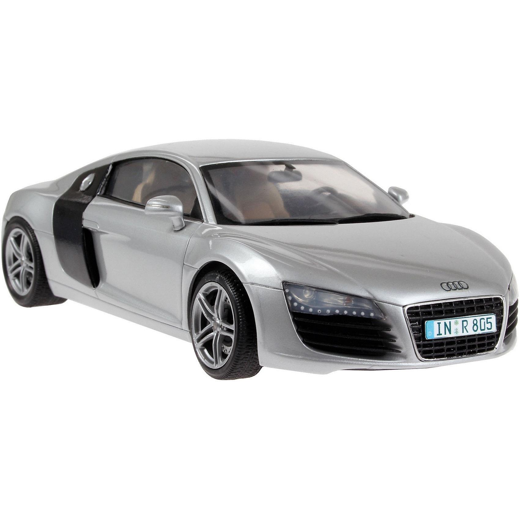 а/м Audi R8 (1:24)Модели для склеивания<br>Масштаб: 1:24; <br>Количество деталей: 106 шт.; <br>Длина модели: 184 мм.; <br><br>Подойдет для детей старше 10-и лет. <br>Модель автомобиля Audi R8 от фирмы Revell является уменьшенной копией одноименного немецкого автомобиля. Впервые произведен в 2007 году в Германии. Модель станет отличным украшением комнаты и дополнением Вашей коллекции. <br>Технические характеристики настоящего автомобиля:  <br>Мощность двигателей: 309 kW; <br>Максимальная скорость: 306 км/ч; <br>ВНИМАНИЕ: Клей, краски и кисточки приобретаются отдельно.<br><br>Ширина мм: 351<br>Глубина мм: 66<br>Высота мм: 212<br>Вес г: 425<br>Возраст от месяцев: 36<br>Возраст до месяцев: 1164<br>Пол: Мужской<br>Возраст: Детский<br>SKU: 1632303
