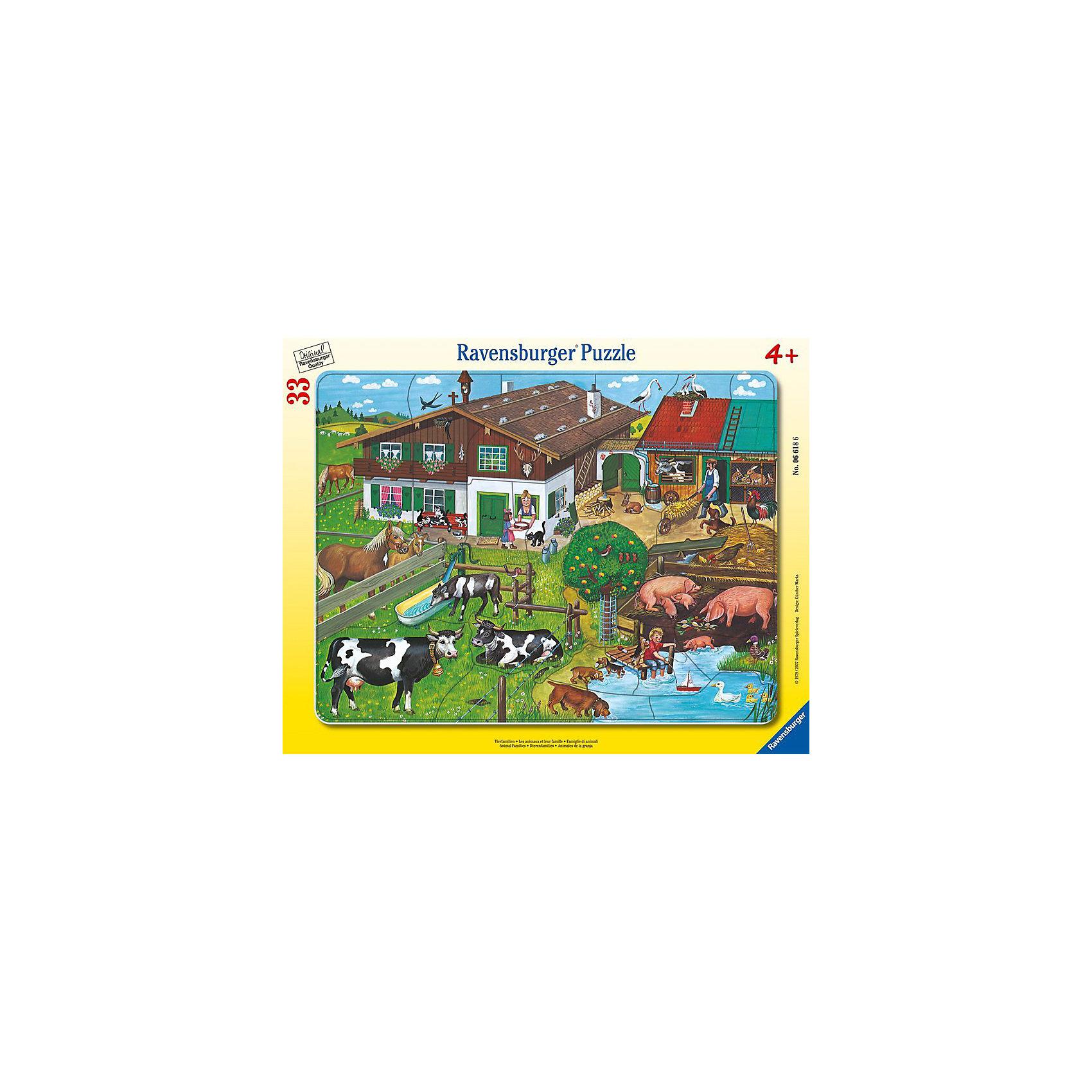 Пазл «Животные на ферме», 33 детали, RavensburgerПазлы для малышей<br>Пазл животные на ферме способствует развитию памяти, моторики рук, усидчивости и сообразительности ребёнка. Воссоздавая картинку, малыш легко запомнит и животных, изображенных на ней. Собирать пазл будет легко, ведь все детали изготовлены из прочного материала, который не будет расклеиваться при использовании. Также изделие безопасно для ребёнка, так как изготовлено из экологического сырья. Ваш ребёнок будет рад такому полезному и интересному подарку!<br>В товар входит:<br>-33 деталей<br><br>Дополнительная информация<br>-Размер картинки – 32,5*24,5 см <br>-Размер упаковки – 38*30 см<br>-Возраст: от 3 лет<br>-Для мальчиков и девочек<br>-Состав: картон, бумага<br>-Бренд: Ravensburger (Равенсбургер)<br>-Страна обладатель бренда: Германия<br><br>Ширина мм: 376<br>Глубина мм: 288<br>Высота мм: 7<br>Вес г: 294<br>Возраст от месяцев: 48<br>Возраст до месяцев: 72<br>Пол: Унисекс<br>Возраст: Детский<br>Количество деталей: 33<br>SKU: 1634570