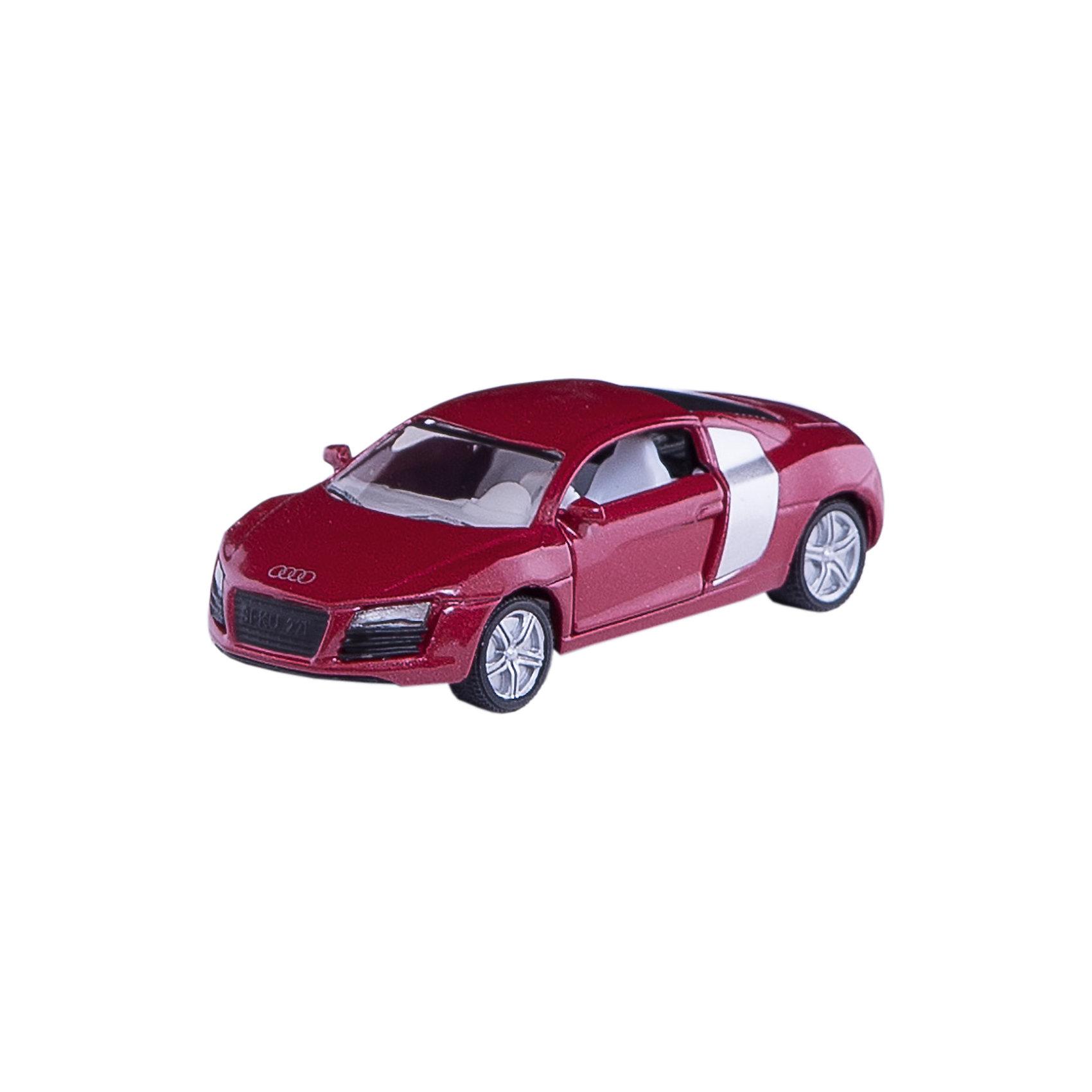 SIKU 1430 Audi R8Первый спортивный суперавтомобиль с четырьмя кольцами на радиаторе. Очень широкие колеса с резиновыми протекторами обеспечивают идеальное сцепление с дорогой в любой поездке. Двери открываются, диски соответствуют оригинальным вплоть до деталей. Необычное цветовое решение радует глаз.<br><br>Игрушечные модели SIKU уже более 50 лет отличаются высоким качеством и безопасностью. Они имеют сертификаты T?V и GS, изготавливаются в соответствии с актуальными предписаниями по безопасности и отмечены знаком SPIEL GUT. Игрушки не предназначены для детей младше 36 месяцев, так как содержат мелкие детали, которые могут быть проглочены.<br><br>Д/Ш/В: 80x37x24 мм<br><br>+++Примечание+++<br>Фирма SIKU оставляет за собой право на изменение цвета и технических характеристик моделей. При демонстрации новинок в ряде случаев используются оригинальные фотографии и прототипы. Поставляемая модель может отличаться от представленной на фотографии.<br><br>Ширина мм: 94<br>Глубина мм: 78<br>Высота мм: 38<br>Вес г: 56<br>Возраст от месяцев: 36<br>Возраст до месяцев: 96<br>Пол: Мужской<br>Возраст: Детский<br>SKU: 1636693