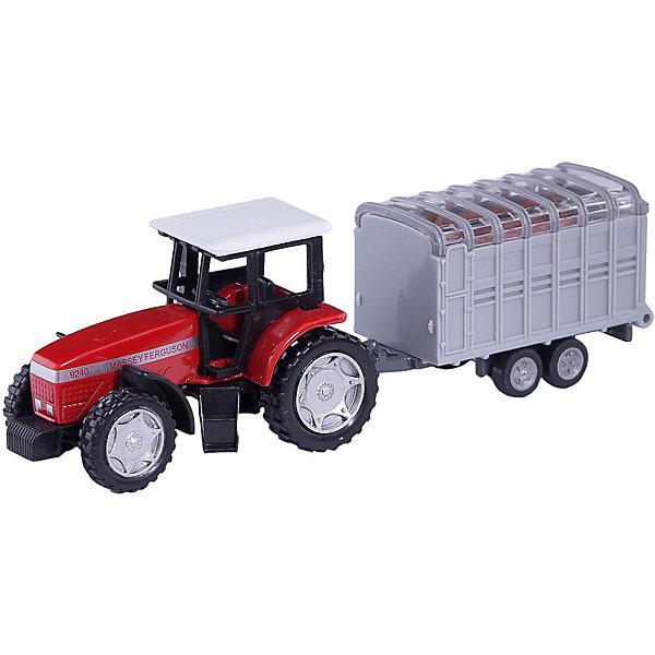 SIKU 1640 Трактор с прицепом для скотаМашинки<br>Набор SIKU (СИКУ) 1640 Трактор с прицепом для скота включает в себя модель трактора и прицепа для перевозки домашнего скота. В комплект также входит фигурка коровы.<br><br>Корпус трактора выполнен из металла, кабина трактора и кузов прицепа из пластмассы, колёса выполнены из пластмассы и вращаются, можно катать. Модели в точности повторяют внешний вид настоящей машины, а подвижные колеса, съемные детали и вставки из прозрачного пластика делают их еще более реалистичной и красочной. Рампа прицепа поднимается и опускается. <br><br>Дополнительная информация:<br>-Размер игрушки: 13,7 x 3,6 x 4,5 см <br>-Материал: металл с элементами пластмассы, резина  <br>    <br>Купите эту игрушку в подарок, и ребенок сам придумает множество сценариев и сюжетов игры. Удобная форма машины позволит взять игрушку полностью в руку, что поможет тренировать координацию движения и мелкую моторику.<br><br>SIKU (СИКУ) 1640 Трактор с прицепом для скота можно купить в нашем магазине.<br>Ширина мм: 195; Глубина мм: 78; Высота мм: 40; Вес г: 85; Возраст от месяцев: 36; Возраст до месяцев: 96; Пол: Мужской; Возраст: Детский; SKU: 1636697;