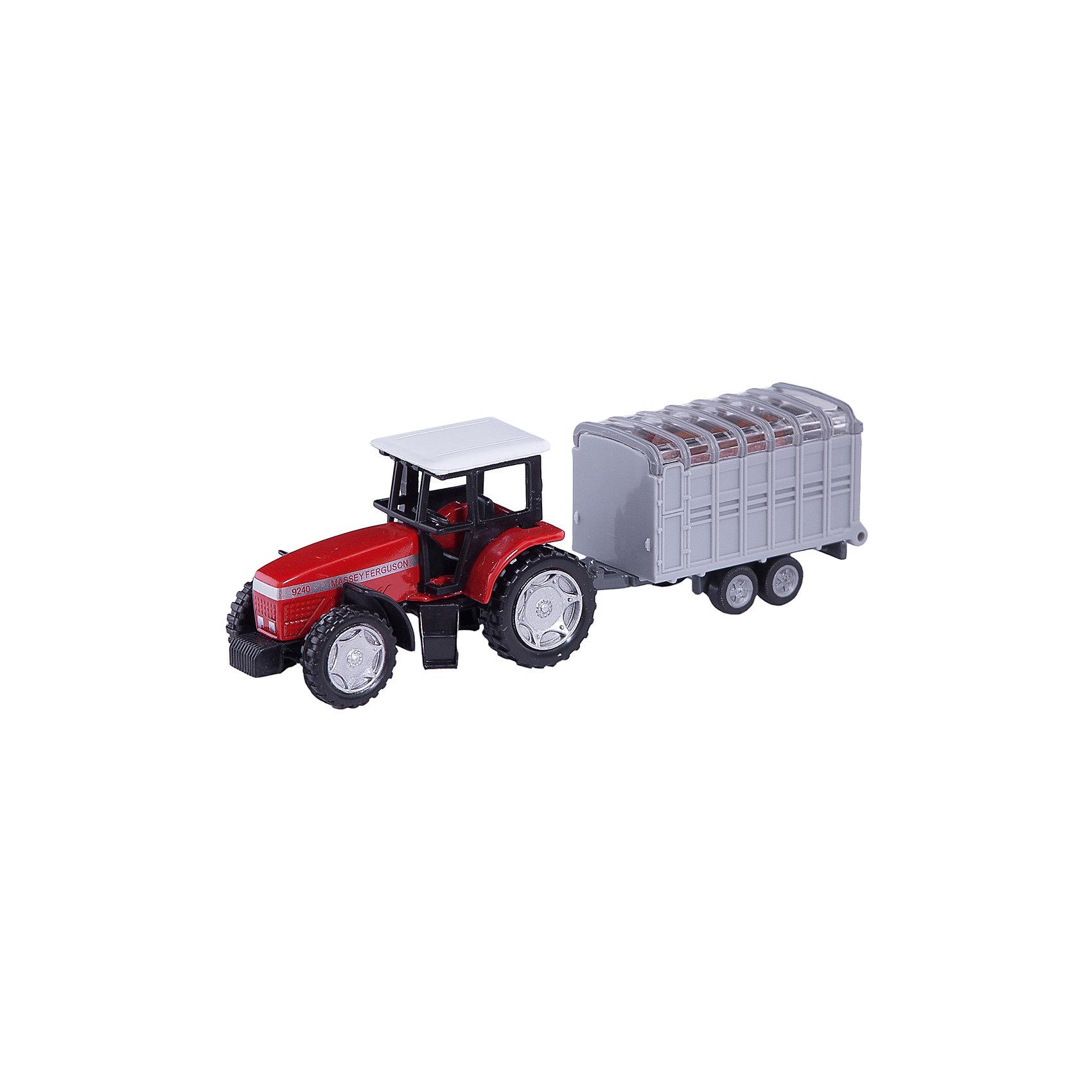 SIKU 1640 Трактор с прицепом для скотаНабор SIKU (СИКУ) 1640 Трактор с прицепом для скота включает в себя модель трактора и прицепа для перевозки домашнего скота. В комплект также входит фигурка коровы.<br><br>Корпус трактора выполнен из металла, кабина трактора и кузов прицепа из пластмассы, колёса выполнены из пластмассы и вращаются, можно катать. Модели в точности повторяют внешний вид настоящей машины, а подвижные колеса, съемные детали и вставки из прозрачного пластика делают их еще более реалистичной и красочной. Рампа прицепа поднимается и опускается. <br><br>Дополнительная информация:<br>-Размер игрушки: 13,7 x 3,6 x 4,5 см <br>-Материал: металл с элементами пластмассы, резина  <br>    <br>Купите эту игрушку в подарок, и ребенок сам придумает множество сценариев и сюжетов игры. Удобная форма машины позволит взять игрушку полностью в руку, что поможет тренировать координацию движения и мелкую моторику.<br><br>SIKU (СИКУ) 1640 Трактор с прицепом для скота можно купить в нашем магазине.<br><br>Ширина мм: 195<br>Глубина мм: 78<br>Высота мм: 40<br>Вес г: 85<br>Возраст от месяцев: 36<br>Возраст до месяцев: 96<br>Пол: Мужской<br>Возраст: Детский<br>SKU: 1636697