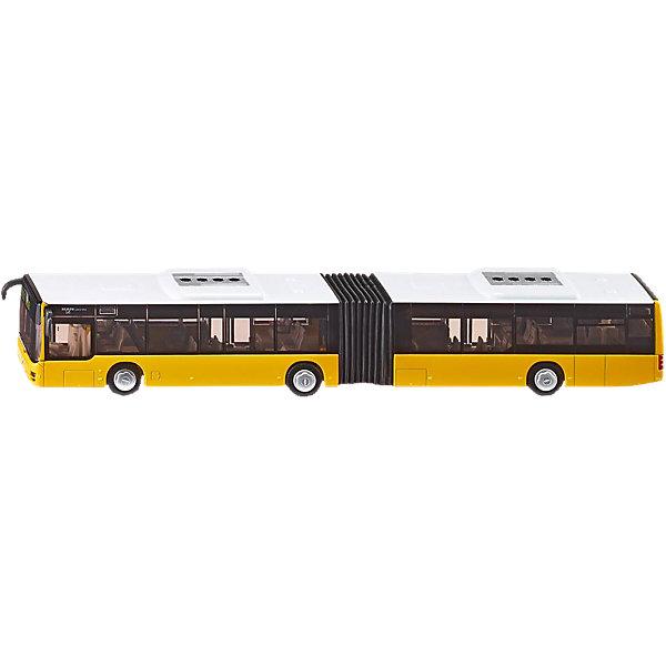 SIKU 3736 Автобус-гармошка 1:50Машинки<br>SIKU (СИКУ) 3736 Автобус-гармошка 1:50- это модель реального автобуса-гармошки, который ездил по улицам Германии с 2000 по 2004 год. <br><br>Корпус автобуса-гармошки, а также его колесные оси выполнены из металла, остальные части – из упрочненной пластмассы, колеса из рифленого прорезиненного пластика, благодаря чему модель обладает хорошим сцеплением с любой поверхностью. Автобус состоит из двух секций, которые соединены между собой «гармошкой» из гибкой прорезиненной пластмассы, и могу перемещаться, как у настоящего автобуса. «Стекла» модели выполнены из прозрачного «тонированного» пластика, поэтому можно подробно рассмотреть внутреннее «убранство» автобуса. Передние, центральные и задние двери автобуса-гармошки легко раскрываются внутрь при надавливании на них пальцем. В задней части автобуса открывается моторный отсек.<br><br>Дополнительная информация:<br>-Масштаб 1:50<br>-Размер игрушки: 35,5 x 4,8 x 5,2 см<br>-Материал: металл, пластмасса<br>ВНИМАНИЕ! Данный артикул имеется в наличии в разных цветовых исполнениях. К сожалению, заранее выбрать определенный цвет невозможно. При заказе нескольких позиций возможно получение одинаковых.<br><br><br>Реалистичные модели SIKU (СИКУ) пользуются популярностью как среди детей, так и среди взрослых коллекционеров. Игра с моделями машин SIKU (СИКУ) развивает воображение, мышление, память, мелкую моторику рук и координацию движений.<br><br>SIKU (СИКУ) 3736 Автобус-гармошка 1:50 можно купить в нашем магазине.<br>Ширина мм: 411; Глубина мм: 98; Высота мм: 69; Вес г: 663; Возраст от месяцев: 36; Возраст до месяцев: 96; Пол: Мужской; Возраст: Детский; SKU: 1636709;