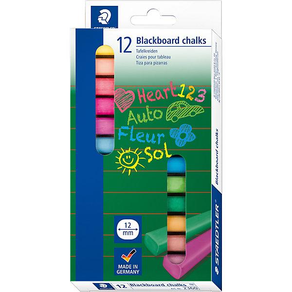 Мелки для доски цветные, 12 цветов, StaedtlerРисование и лепка<br>Характеристики:<br><br>• возраст: от 1 года<br>• количество: 12 мелков<br>• форма: прямоугольная<br>• держатель: бумажная манжетка<br>• упаковка: картонная коробка с европодвесом<br>• размер упаковки: 15,3х9,6х1,6 см.<br>• вес: 124 гр.<br><br>Набор мелков от Staedtler (Штедлер) предназначен для меловых досок. В наборе 12 ярких мелков. Мелки не оставляют пыль и крошки. Легко стираются. Бумажная манжетка позволяет удобно держать мелок и не пачкать руки.<br><br>Мелки для доски цветные, 12 цветов, Staedtler (Штедлер) можно купить в нашем интернет-магазине.<br>Ширина мм: 219; Глубина мм: 111; Высота мм: 35; Вес г: 142; Возраст от месяцев: 36; Возраст до месяцев: 120; Пол: Унисекс; Возраст: Детский; SKU: 1649302;