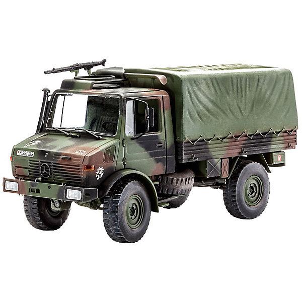 Военный автомобиль Унимог (Lkw 2t tmilgl)Автомобили<br>Характеристики товара:<br><br>• возраст: от 10 лет;<br>• масштаб: 1:35;<br>• количество деталей: 190 шт;<br>• материал: пластик; <br>• клей и краски в комплект не входят;<br>• длина модели: 15,5 см;<br>• бренд, страна бренда: Revell (Ревел), Германия;<br>• страна-изготовитель: Польша.<br><br>Сборная модель «Военный автомобиль Унимог (Lkw 2t tmilgl)» поможет вам и вашему ребенку собрать точную копию военного автомобиля, выполненную в масштабе 1:35 из высококачественного пластика.<br><br>В 1978 г. на вооружение германской армии поступили первые 12 000 грузовиков Unimog, ставшие известными как «двухтонники». Это очень универсальное транспортное средство было разработано специально для нужд армии. Конструктивно рассчитанный на перевозку грузов весом 2250 кг, он тем не менее способен взять груз до 7500 кг. 130-сильный дизельный двигатель OM 352 позволяет грузовику развивать максимальную скорость до 82 км/ч. Кроме того на всех грузовиках Unimog устанавливалась поворотная площадка, на которой можно смонтировать любое подходящее оружие. <br><br>В комплект набора для склеивания и раскрашивания входит 190 пластиковых деталей, а также подробная иллюстрирована инструкция. Обращаем ваше внимание на тот факт, что для сборки этой модели клей и краски в комплект не входят. <br><br>Моделирование — это очень увлекательное и полезное занятие, которое по достоинству оценят не только дети, но и взрослые, увлекающиеся военной техникой. Сборка моделей поможет ребенку развить воображение, мелкую моторику ручек и логическое мышление.<br><br>Сборную модель «Военный автомобиль Унимог (Lkw 2t tmilgl)», 190 дет., Revell (Ревел) можно купить в нашем интернет-магазине.<br><br>Ширина мм: 238<br>Глубина мм: 59<br>Высота мм: 368<br>Вес г: 375<br>Возраст от месяцев: 72<br>Возраст до месяцев: 1164<br>Пол: Мужской<br>Возраст: Детский<br>SKU: 1649413