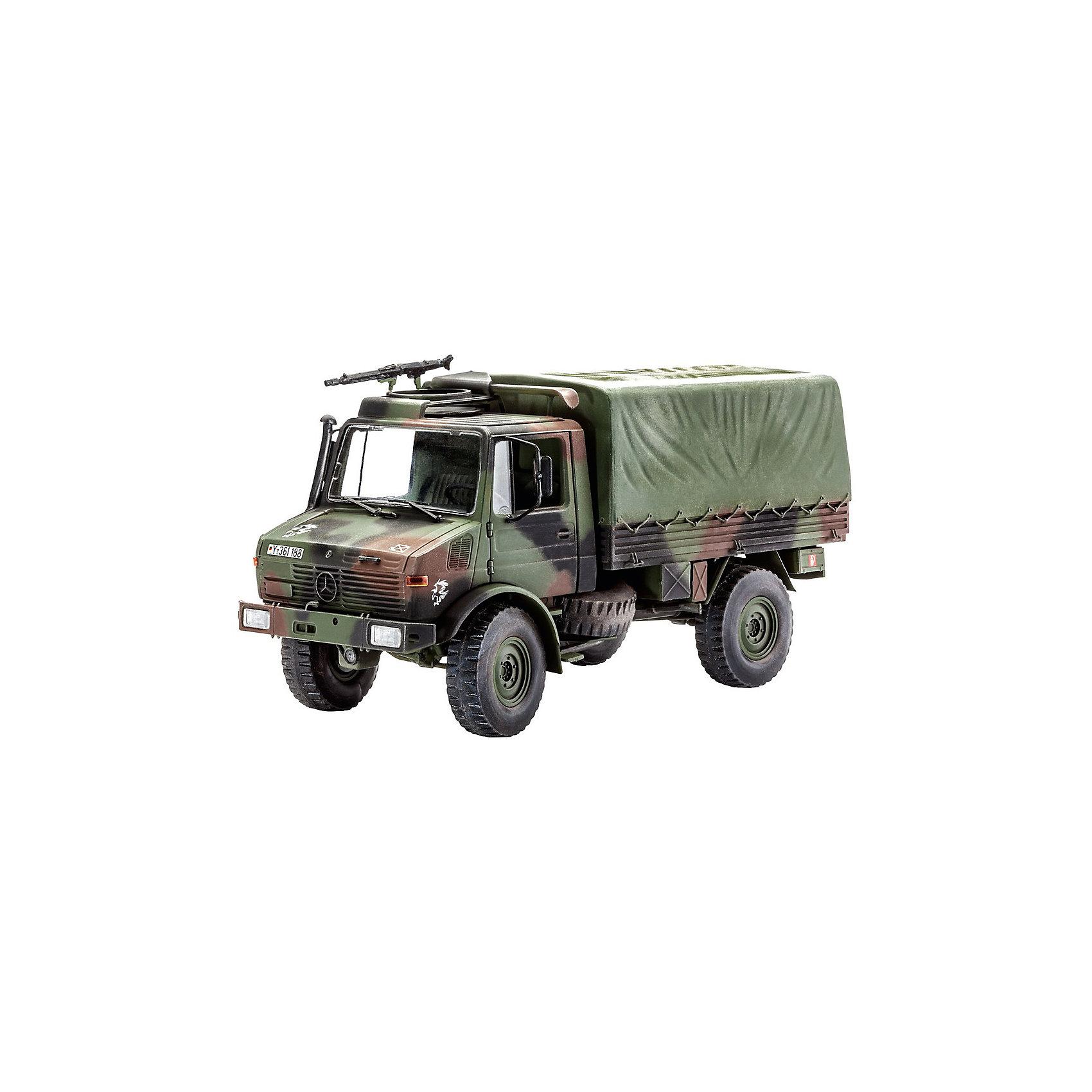 Военный автомобиль Унимог (Lkw 2t tmilgl)Модели для склеивания<br>Характеристики товара:<br><br>• возраст: от 10 лет;<br>• масштаб: 1:35;<br>• количество деталей: 190 шт;<br>• материал: пластик; <br>• клей и краски в комплект не входят;<br>• длина модели: 15,5 см;<br>• бренд, страна бренда: Revell (Ревел), Германия;<br>• страна-изготовитель: Польша.<br><br>Сборная модель «Военный автомобиль Унимог (Lkw 2t tmilgl)» поможет вам и вашему ребенку собрать точную копию военного автомобиля, выполненную в масштабе 1:35 из высококачественного пластика.<br><br>В 1978 г. на вооружение германской армии поступили первые 12 000 грузовиков Unimog, ставшие известными как «двухтонники». Это очень универсальное транспортное средство было разработано специально для нужд армии. Конструктивно рассчитанный на перевозку грузов весом 2250 кг, он тем не менее способен взять груз до 7500 кг. 130-сильный дизельный двигатель OM 352 позволяет грузовику развивать максимальную скорость до 82 км/ч. Кроме того на всех грузовиках Unimog устанавливалась поворотная площадка, на которой можно смонтировать любое подходящее оружие. <br><br>В комплект набора для склеивания и раскрашивания входит 190 пластиковых деталей, а также подробная иллюстрирована инструкция. Обращаем ваше внимание на тот факт, что для сборки этой модели клей и краски в комплект не входят. <br><br>Моделирование — это очень увлекательное и полезное занятие, которое по достоинству оценят не только дети, но и взрослые, увлекающиеся военной техникой. Сборка моделей поможет ребенку развить воображение, мелкую моторику ручек и логическое мышление.<br><br>Сборную модель «Военный автомобиль Унимог (Lkw 2t tmilgl)», 190 дет., Revell (Ревел) можно купить в нашем интернет-магазине.<br><br>Ширина мм: 238<br>Глубина мм: 59<br>Высота мм: 368<br>Вес г: 375<br>Возраст от месяцев: 72<br>Возраст до месяцев: 1164<br>Пол: Мужской<br>Возраст: Детский<br>SKU: 1649413