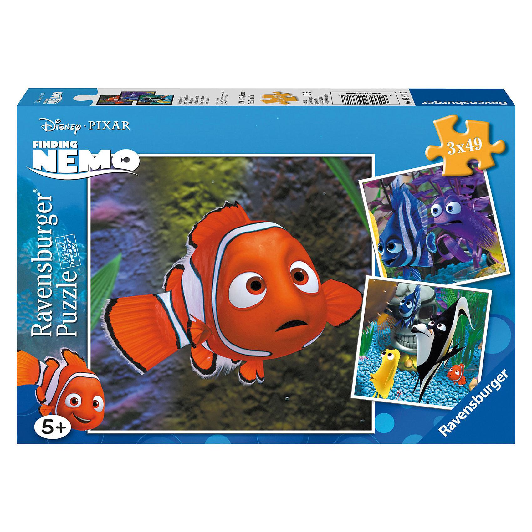Пазл «Немо в аквариуме», 3х49 деталей, RavensburgerПазлы для малышей<br>Пазл для детей  Немо в аквариуме состоит из дву картинок,на которых изображены герои известного мультфильма В поисках Немо. Пазл способствует развитию памяти, усидчивости, моторики рук,воображения и логического мышления. Все детали изготовлены из качественного экологического материала, благодаря чему они не будет гнуться и расклеиваться при использовании. Собранная картинка с изображением любимых героев еще долго будет радовать глаз, ведь она не тускнеет и не теряет свой цвет со временем.<br><br>В товар входит:<br>-49 деталей<br><br>Дополнительная информация:<br>-Размер картинки – 18*18 см <br>-Размер упаковки – 28*19*4 см<br>-Возраст: от 5 лет<br>-Для девочек и мальчиков<br>-Состав: картон, бумага<br>-Бренд: Ravensburger (Равенсбургер)<br>-Страна обладатель бренда: Германия<br><br>Ширина мм: 282<br>Глубина мм: 192<br>Высота мм: 39<br>Вес г: 343<br>Возраст от месяцев: 60<br>Возраст до месяцев: 84<br>Пол: Унисекс<br>Возраст: Детский<br>Количество деталей: 49<br>SKU: 1674363