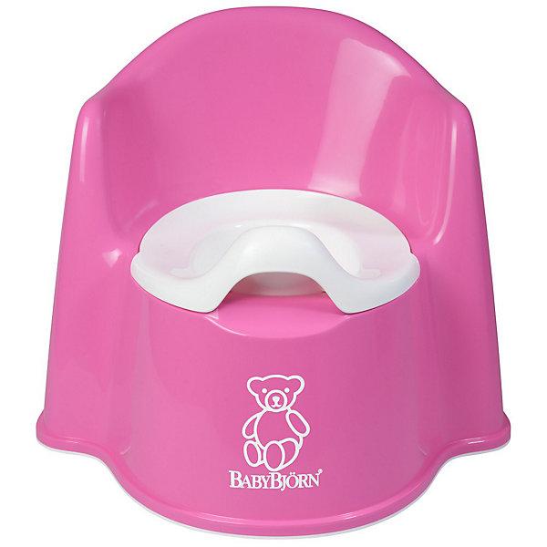 Кресло-горшок BabyBjorn, розовыйДетские горшки<br>Кресло-горшок BabyBjorn (БэйбиБьёрн) - сидеть на нем удобно и комфортно!<br><br>Для ребенка так важно, чтобы горшок был удобным. Эргономический дизайн с мягкими формами прекрасно справляется с это задачей! Кресло-горшок BabyBjorn с высокой спинкой, удобные подлокотники, возможность свободно перемещать ноги позволяют ребенку комфортно сидеть столько, сколько необходимо. <br><br>Надежная защита от брызг, одинаково подходит как девочкам, так и мальчикам. <br><br>Разнообразная цветовая гамма и высококачественный пластик (используются исключительно экологически чистые материалы) никого не оставят равнодушными. Внутренняя часть горшка легко вынимается и моется отдельно.  Ребенку будет удобно садиться и вставать, опираясь на подлокотники.  <br><br>Размер отверстия: <br>- с внутренней частью: 18 х 11,5 см <br>- без внутренней части: 18,5 х 12 см <br><br>Высота сиденья: 15 см.<br><br>Кресло-горшок BabyBjorn розового цвета можно купить в нашем интернет-магазине.<br><br>Ширина мм: 356<br>Глубина мм: 350<br>Высота мм: 312<br>Вес г: 941<br>Цвет: розовый<br>Возраст от месяцев: 18<br>Возраст до месяцев: 48<br>Пол: Женский<br>Возраст: Детский<br>SKU: 1682719