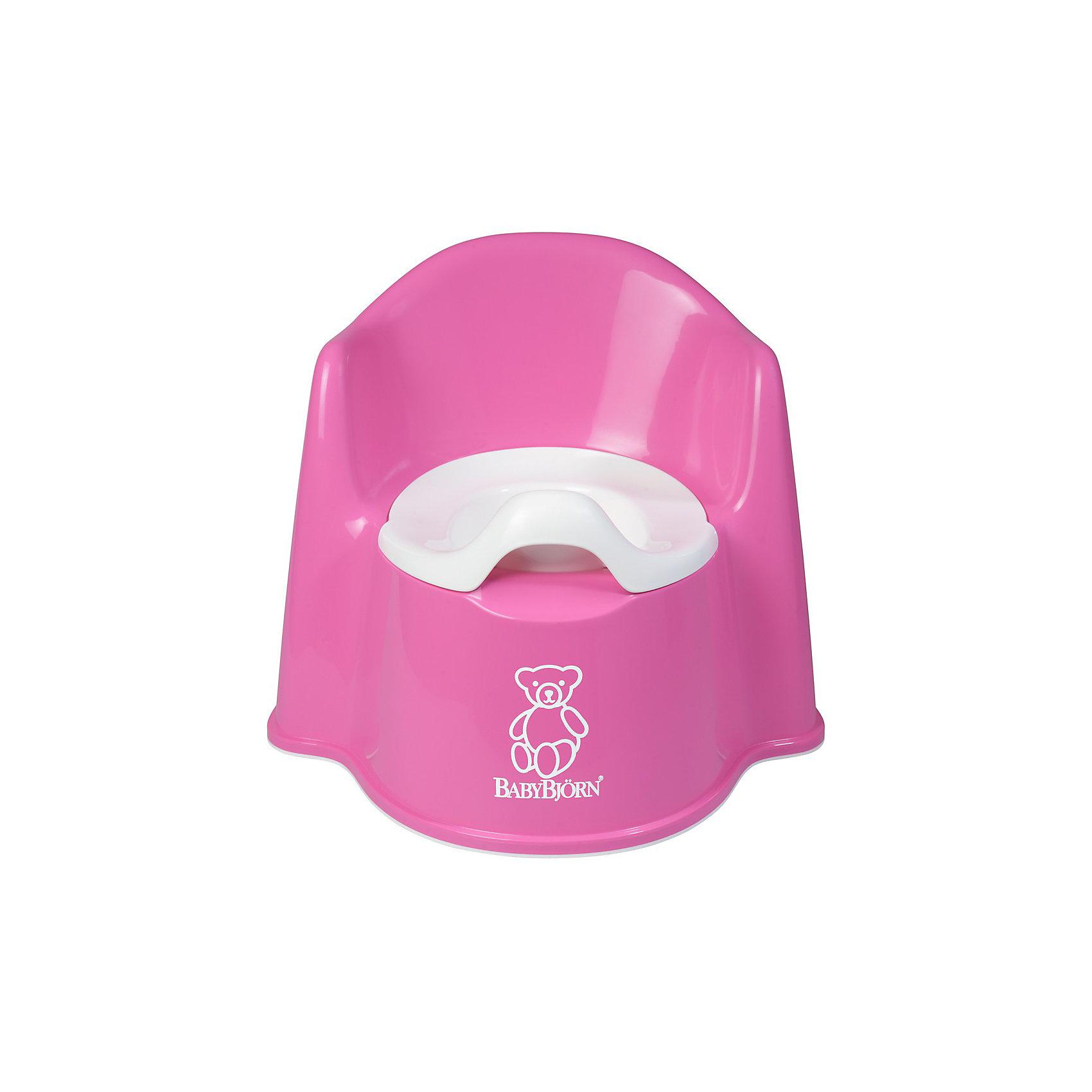Кресло-горшок BabyBjorn, розовыйГоршки, сиденья для унитаза, стульчики-подставки<br>Кресло-горшок BabyBjorn (БэйбиБьёрн) - сидеть на нем удобно и комфортно!<br><br>Для ребенка так важно, чтобы горшок был удобным. Эргономический дизайн с мягкими формами прекрасно справляется с это задачей! Кресло-горшок BabyBjorn с высокой спинкой, удобные подлокотники, возможность свободно перемещать ноги позволяют ребенку комфортно сидеть столько, сколько необходимо. <br><br>Надежная защита от брызг, одинаково подходит как девочкам, так и мальчикам. <br><br>Разнообразная цветовая гамма и высококачественный пластик (используются исключительно экологически чистые материалы) никого не оставят равнодушными. Внутренняя часть горшка легко вынимается и моется отдельно.  Ребенку будет удобно садиться и вставать, опираясь на подлокотники.  <br><br>Размер отверстия: <br>- с внутренней частью: 18 х 11,5 см <br>- без внутренней части: 18,5 х 12 см <br><br>Высота сиденья: 15 см.<br><br>Кресло-горшок BabyBjorn розового цвета можно купить в нашем интернет-магазине.<br><br>Ширина мм: 356<br>Глубина мм: 350<br>Высота мм: 312<br>Вес г: 941<br>Цвет: розовый<br>Возраст от месяцев: 18<br>Возраст до месяцев: 48<br>Пол: Женский<br>Возраст: Детский<br>SKU: 1682719