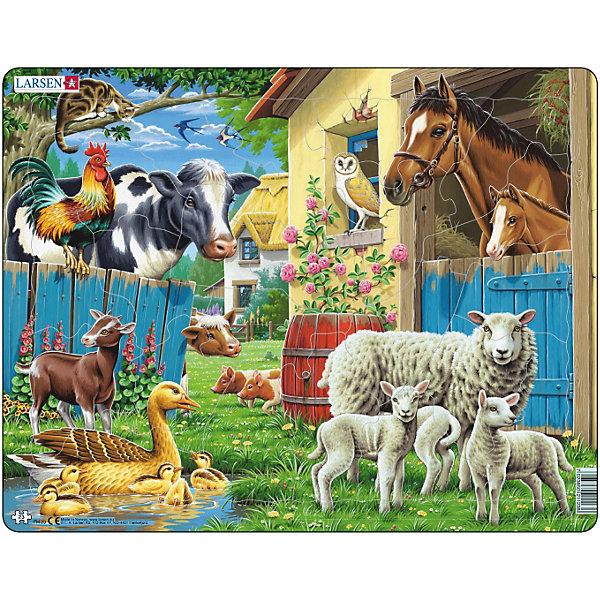 Пазл Животные фермы, 23 детали, LarsenПазлы для малышей<br>Пазл Животные фермы, 23 детали, Larsen (Ларсен) представляет собой яркое и детальное изображение домашних животных и птиц на фоне сельского пейзажа. Малыши любят животных, поэтому им будет очень интересно собирать эту красивую картинку. Изготовлен пазл из плотного трехслойного картона, имеет специальную подложку и рамку, которые облегчают процесс сборки. Принцип сборки пазла заключается в использовании принципа совместимости изображений и контуров пазла. Если малыш не сможет совместить детали пазла по рисунку, он сделает это по контуру пазла, вставив его в подложку как вкладыш. Высокое качество материала и печати не допускают износа, расслаивания, деформации деталей и стирания рисунка. Многообразие форм и разные размеры деталей пазла развивают мелкую моторику пальцев. Занятия по сборке пазла развивают образное и логическое мышление, пространственное воображение, память, внимание, усидчивость, координацию движений.<br><br>Дополнительная информация:<br><br>- Количество элементов: 23 детали<br>- Материал: плотный трехслойный картон<br>- Размер пазла: 36,5 x 28,5 см.<br><br>Пазл Животные фермы, 23 детали, Larsen (Ларсен) можно купить в нашем интернет-магазине.<br><br>Ширина мм: 370<br>Глубина мм: 286<br>Высота мм: 7<br>Вес г: 313<br>Возраст от месяцев: 36<br>Возраст до месяцев: 60<br>Пол: Унисекс<br>Возраст: Детский<br>Количество деталей: 23<br>SKU: 1683300