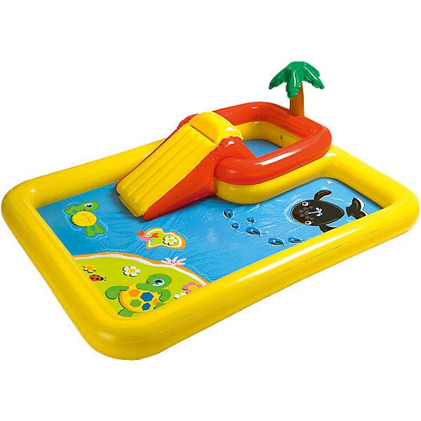 Детский надувной игровой комплекс Океан, IntexБассейны<br>Характеристики товара:<br><br>• размер бассейна: 254x196x79 см<br>• водный фонтанчик подключается к садовому шлангу<br>• надувные игрушки для бассейна в виде пальмы, черепахи и кита<br>• три надувные кольца для метания<br>• максимальная нагрузка 81 кг<br>• вместимость: при наполнение маленького бассейна на 11 см - 49 литров<br>• при наполнение основного бассейна на 23 см - 458 литров<br>• вес в упаковке: 6,9 кг<br>• слив для воды<br><br>Детский надувной игровой комплекс Океан, Intex (Интекс)   -  это настоящий аквапарк, который имеет два отдельных бассейна: небольшой - перед горкой и большой - во весь игровой центр.<br><br>В конструкции игрового центра предусмотрено множество фонтанчиков, которые приятно освежают в жаркую погоду. <br><br>Они расположены по всему периметру игрового комплекса. <br><br>Фонтанчики подключаются к садовому шлангу и в летний день создают комфорт и прохладу играющим малышам. <br><br>Можно порезвиться в воде или покататься на горке, ведь это любимая забава всех детей.<br><br>Игровой комплекс Океан выделяется фонтаном в виде пальмы и горкой.<br><br>Детский надувной игровой комплекс Океан, Intex (Интекс)  можно купить в нашем интернет-магазине.<br>Ширина мм: 393; Глубина мм: 408; Высота мм: 147; Вес г: 6685; Возраст от месяцев: 36; Возраст до месяцев: 72; Пол: Унисекс; Возраст: Детский; SKU: 1692994;