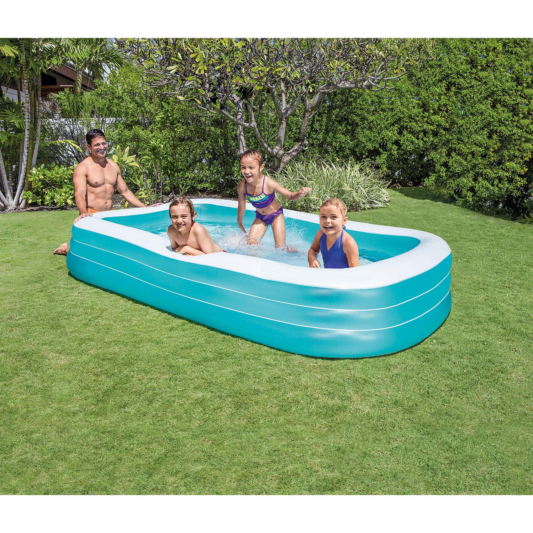 Детский надувной бассейн, IntexБассейны<br>Характеристики товара:<br><br>• размер бассейна: 305x185x56 см<br>• материал: винил<br>• вес: 8.5 кг.<br><br>Детский надувной бассейн, Intex  (Интекс) позволит прекрасно отдохнуть в жаркий день.  <br><br>Бассейн сделан из прочного винила, имеет 3 воздушные камеры с двойными клапанами. <br><br>В нем могут купаться несколько детей и взрослых одновременно. <br><br>Для удобного слива воды предусмотрен водоотвод в дне бассейна.<br><br>Детский надувной бассейн, Intex  (Интекс) можно купить в нашем интернет-магазине.<br><br>Ширина мм: 464<br>Глубина мм: 411<br>Высота мм: 137<br>Вес г: 7074<br>Возраст от месяцев: 72<br>Возраст до месяцев: 1164<br>Пол: Унисекс<br>Возраст: Детский<br>SKU: 1692996