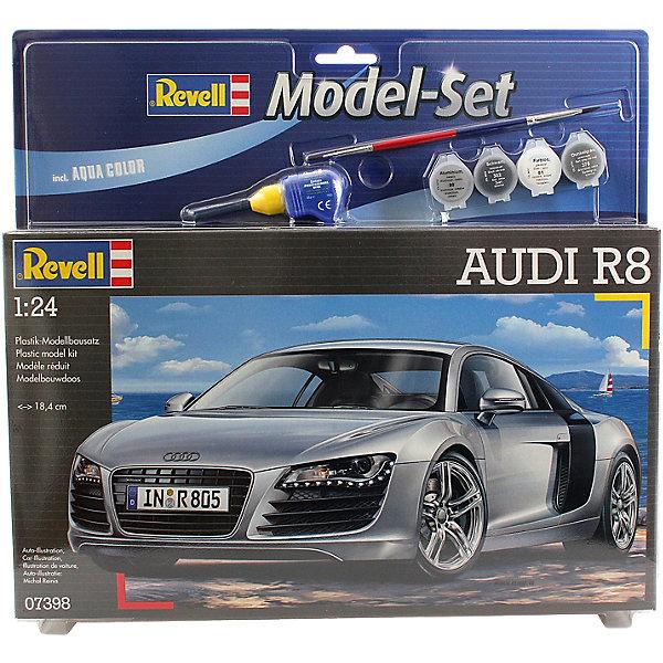 Набор А/М Audi R8 (1/24)Автомобили<br>Характеристики товара:<br><br>• возраст: от 10 лет;<br>• масштаб: 1:24;<br>• количество деталей: 106 шт;<br>• материал: пластик; <br>• клей и краски в комплект не входят;<br>• длина модели: 18,4 см;<br>• бренд, страна бренда: Revell (Ревел),Германия;<br>• страна-изготовитель: Германия.<br><br>Набор для склеивания «Автомобиль Audi R8» поможет вам и вашему ребенку придумать увлекательное занятие на долгое время и получить хорошую игрушку.<br><br>Набор включает в себя 106 пластиковых элементов, клей, кисточки и краски  из которых можно собрать и разукрасить невероятно реалистичную машинку. В комплект также входит схематичная инструкция. Собранный автомобиль имеет прекрасно проработанный салон и детализацию.<br><br>Процесс сборки развивает интеллектуальные и инструментальные способности, воображение и конструктивное мышление, а также прививает практические навыки работы со схемами и чертежами. <br><br>Набор для склеивания «Автомобиль Audi R8», 106 дет., Revell (Ревел) можно купить в нашем интернет-магазине.<br>Ширина мм: 374; Глубина мм: 340; Высота мм: 73; Вес г: 585; Возраст от месяцев: 120; Возраст до месяцев: 180; Пол: Мужской; Возраст: Детский; SKU: 1696229;