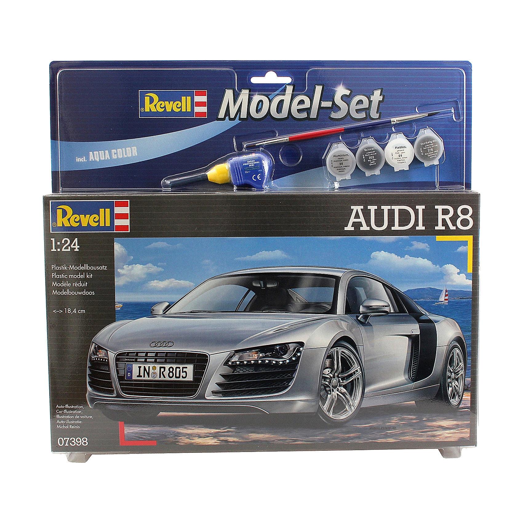 Набор А/М Audi R8 (1/24)Сборные модели транспорта<br>Масштаб: 1:24; <br>Количество деталей: 106 шт.; <br>Длина модели: 184 мм.; <br>Подойдет для детей старше 10-и лет. <br>Модель автомобиля Audi R8 года от фирмы Revell является уменьшенной копией одного из лучших суперкаров Audi R8 - станет отличным украшением комнаты и дополнением Вашей коллекции. <br>Технические характеристики настоящего автомобиля:  <br>Максимальная скорость: 316 км/ч; <br>Вес: 1,5 т.; <br>В набор входят краски, клей и кисточка.<br><br>Ширина мм: 373<br>Глубина мм: 340<br>Высота мм: 73<br>Вес г: 599<br>Возраст от месяцев: 120<br>Возраст до месяцев: 180<br>Пол: Мужской<br>Возраст: Детский<br>SKU: 1696229